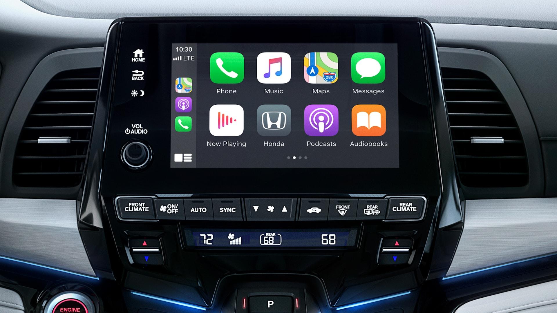 Detalle de Apple CarPlay® en la pantalla táctil del sistema de audio en la Honda Odyssey Elite2020 con Gray Leather.