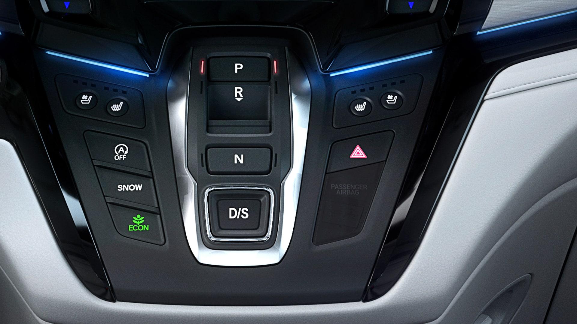 Detalle del selector electrónico de cambios en la Honda Odyssey Elite2020.