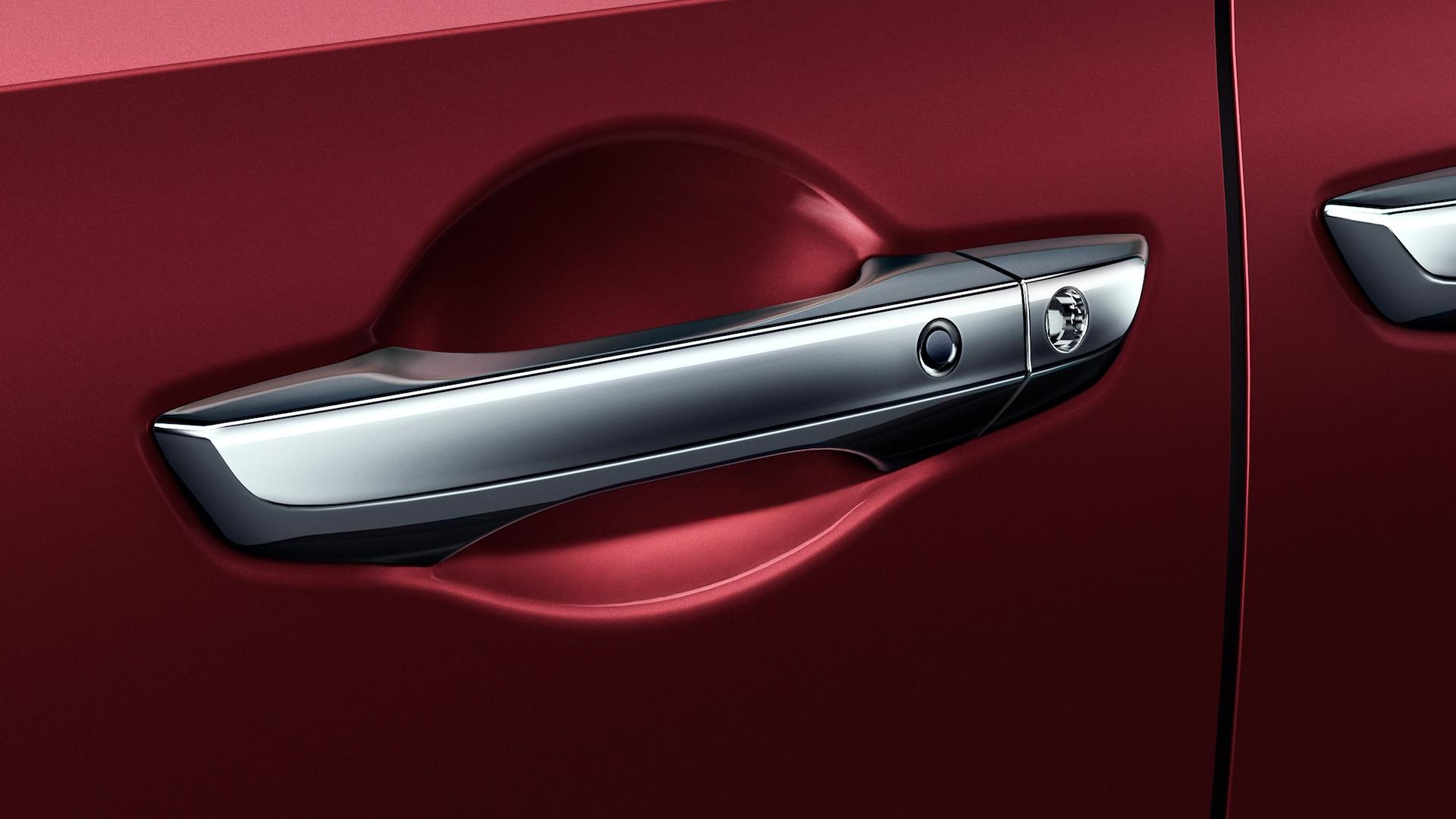 Detalle de la apertura inteligente con Walk Away Auto Lock® en la Honda Odyssey Elite2020 in Deep Scarlet Pearl.