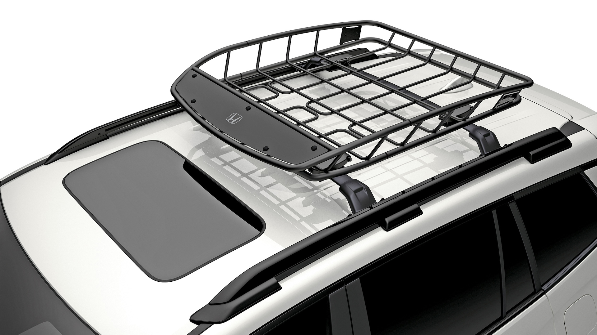 Detail of accessory roof basket on the 2020 Honda Passport.
