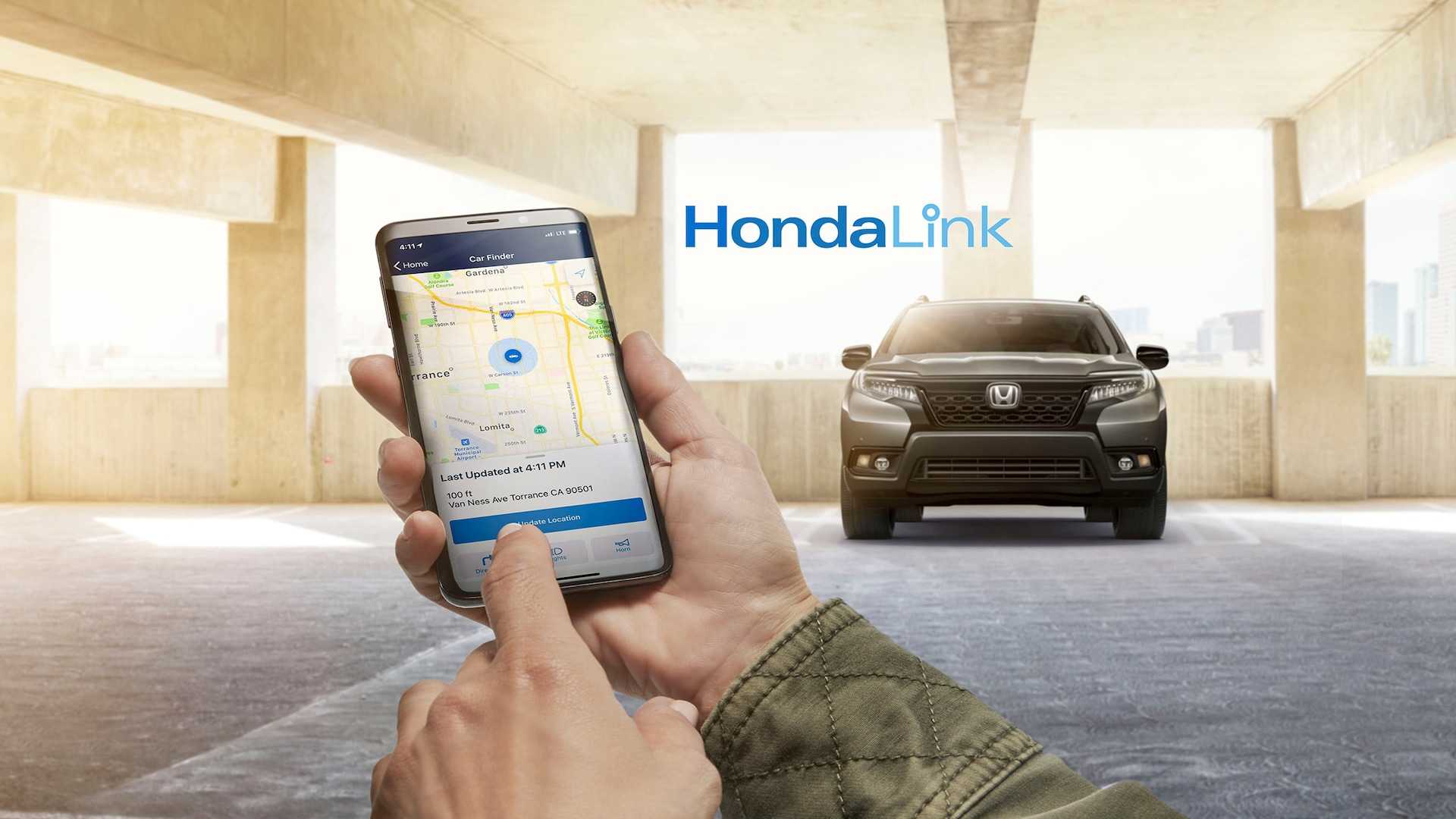 HondaLink® feature detail demonstrated on mobile phone.