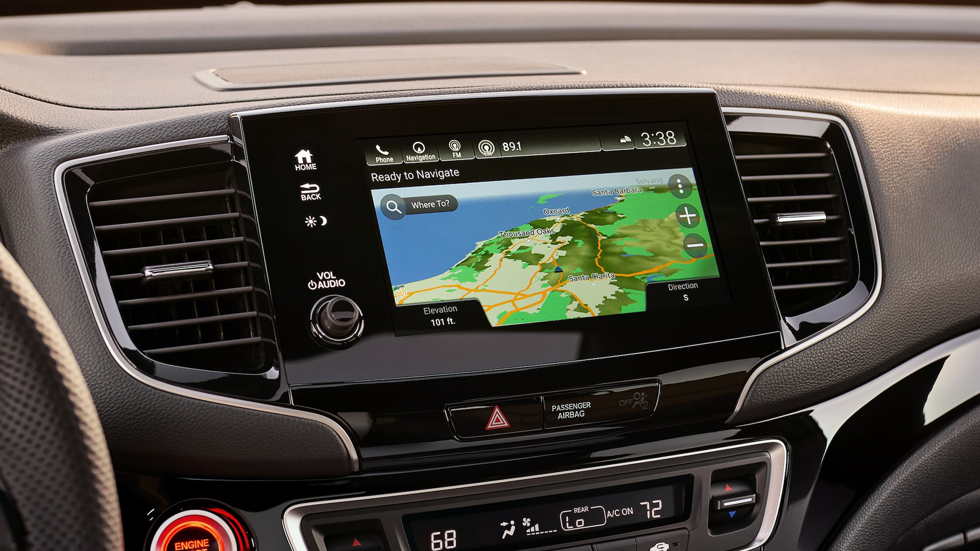 2020 Honda Passport featuring the Honda Satellite-Linked Navigation System™ touch-screen.
