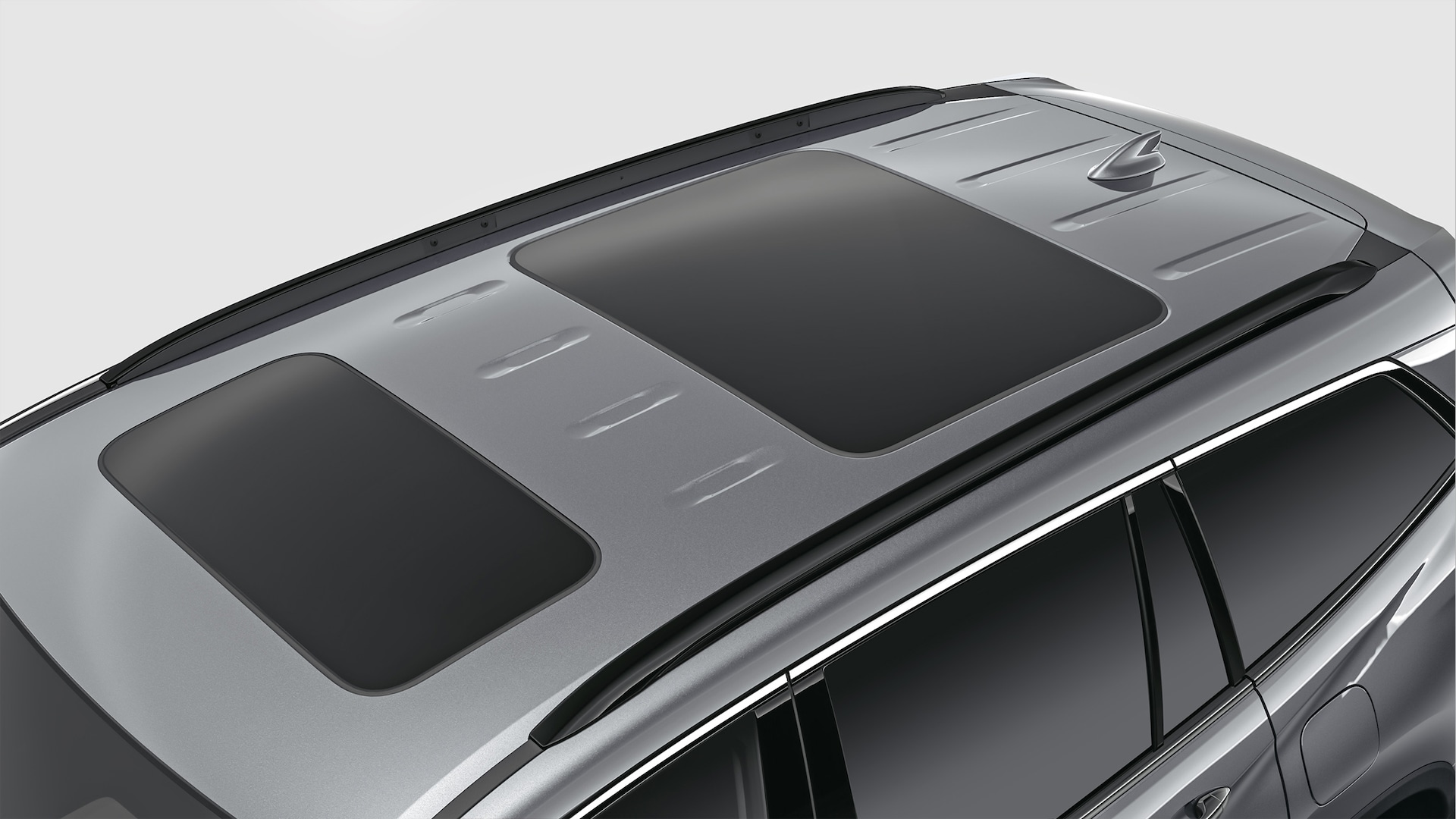 Roof rail detail in black on 2020 Honda Pilot in Modern Steel Metallic.