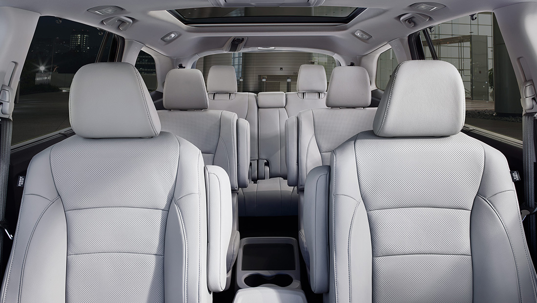 Interior view of 2020 Honda Pilot Elite with Gray Leather Interior and seating for 7.