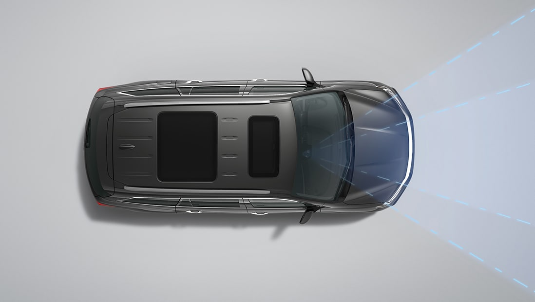 Overhead view of 2020 Honda Pilot Elite in Modern Steel Metallic displaying Lane Keeping Assist System.