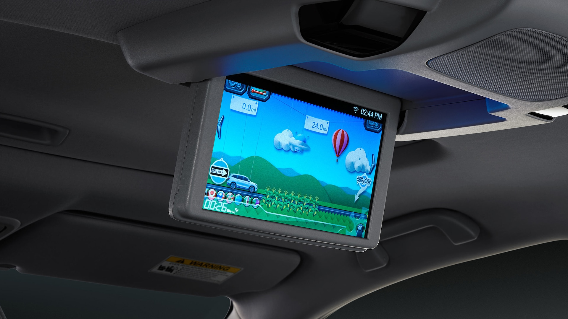 10.2-inch monitor for Advanced Rear Entertainment System detail display in 2020 Honda Pilot Elite with Gray Leather interior.