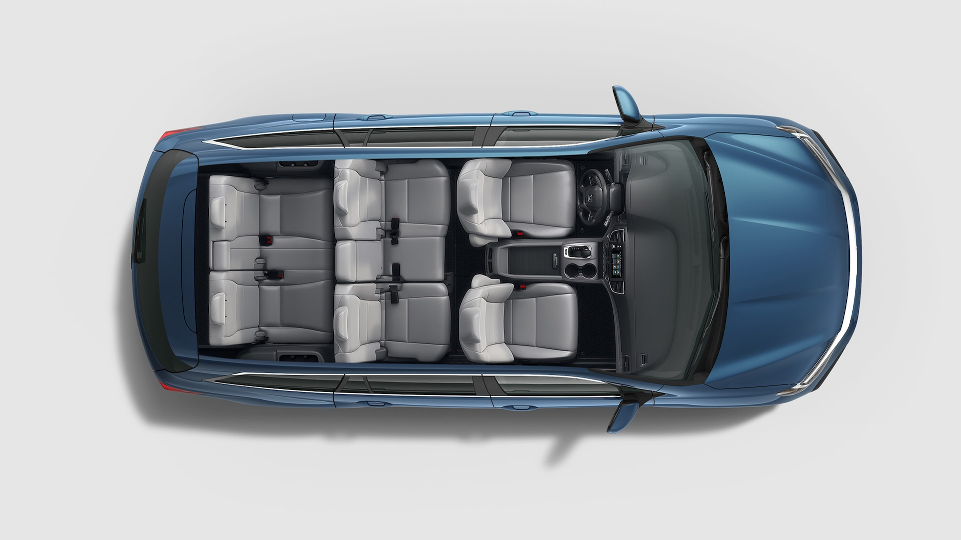 Overhead view of 2020 Honda Pilot Elite in Steel Sapphire Metallic with seating configurations.
