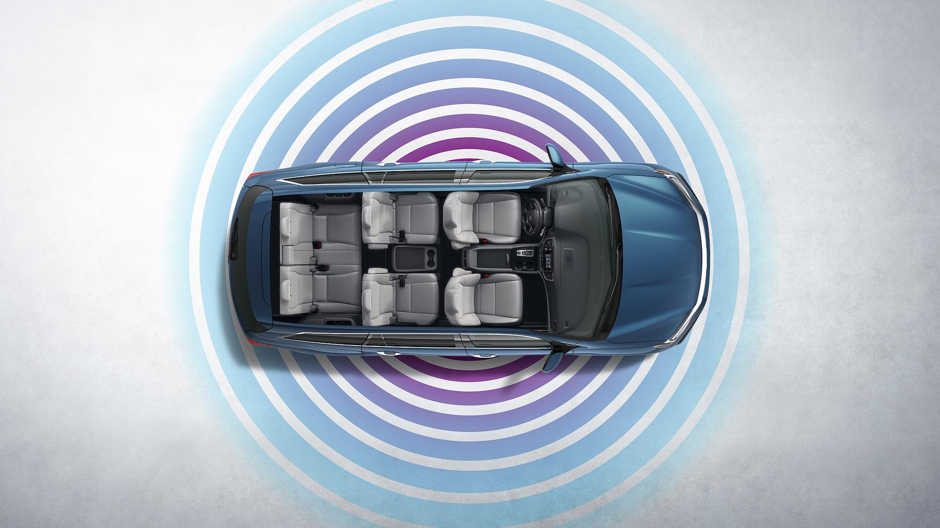 Característica de zona interactiva móvil en el panel de conectividad de la Honda Pilot Elite2020.