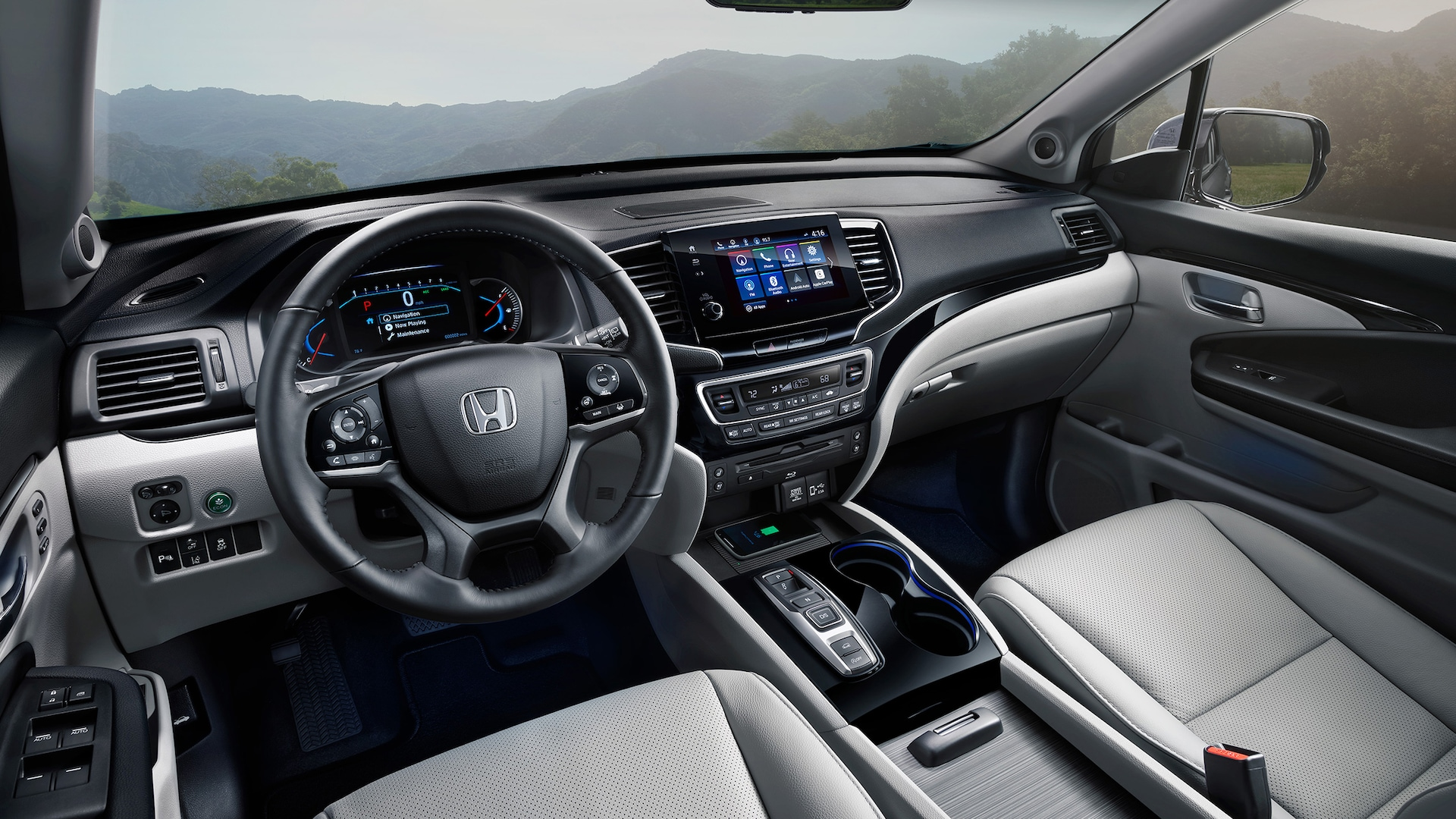 Interior cabin view of 2020 Honda Pilot Elite with Gray Leather.