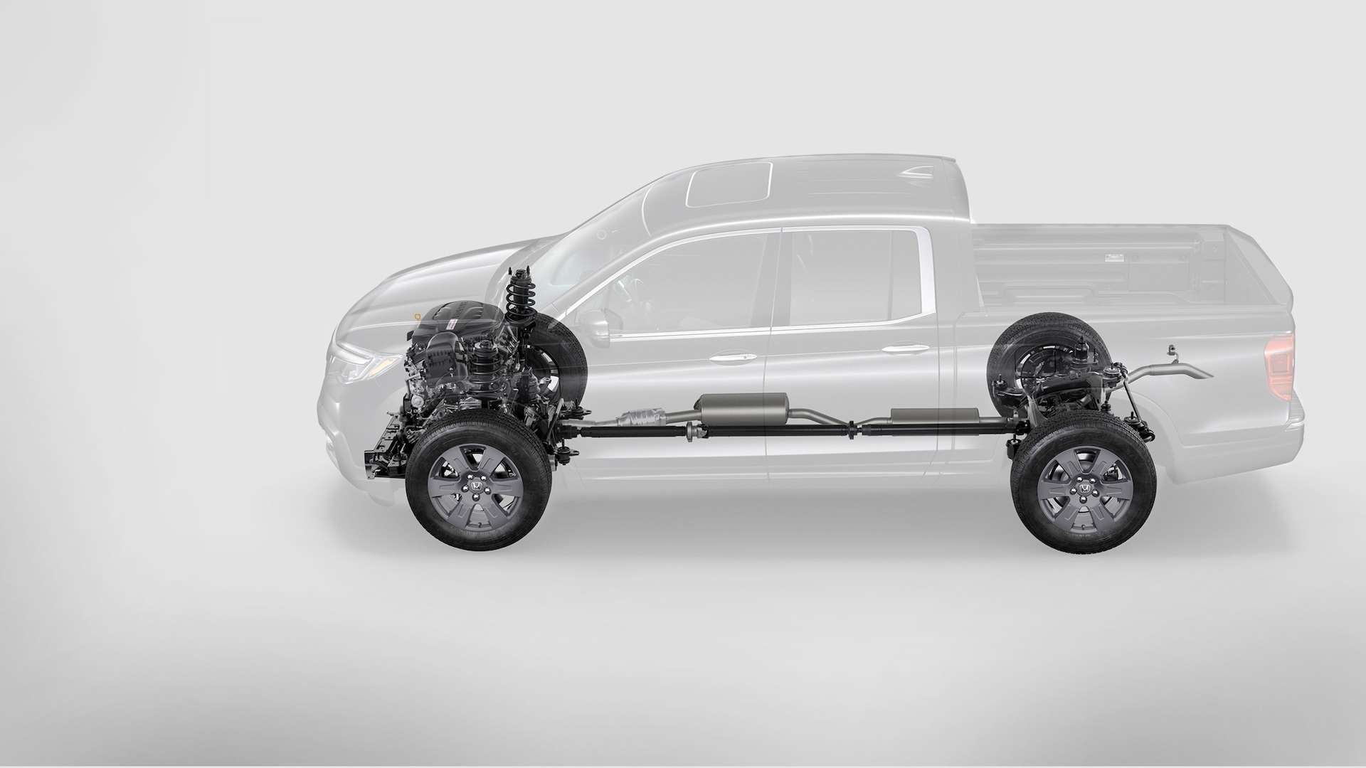 Interior suspension system detail in the 2020 Honda Ridgeline.