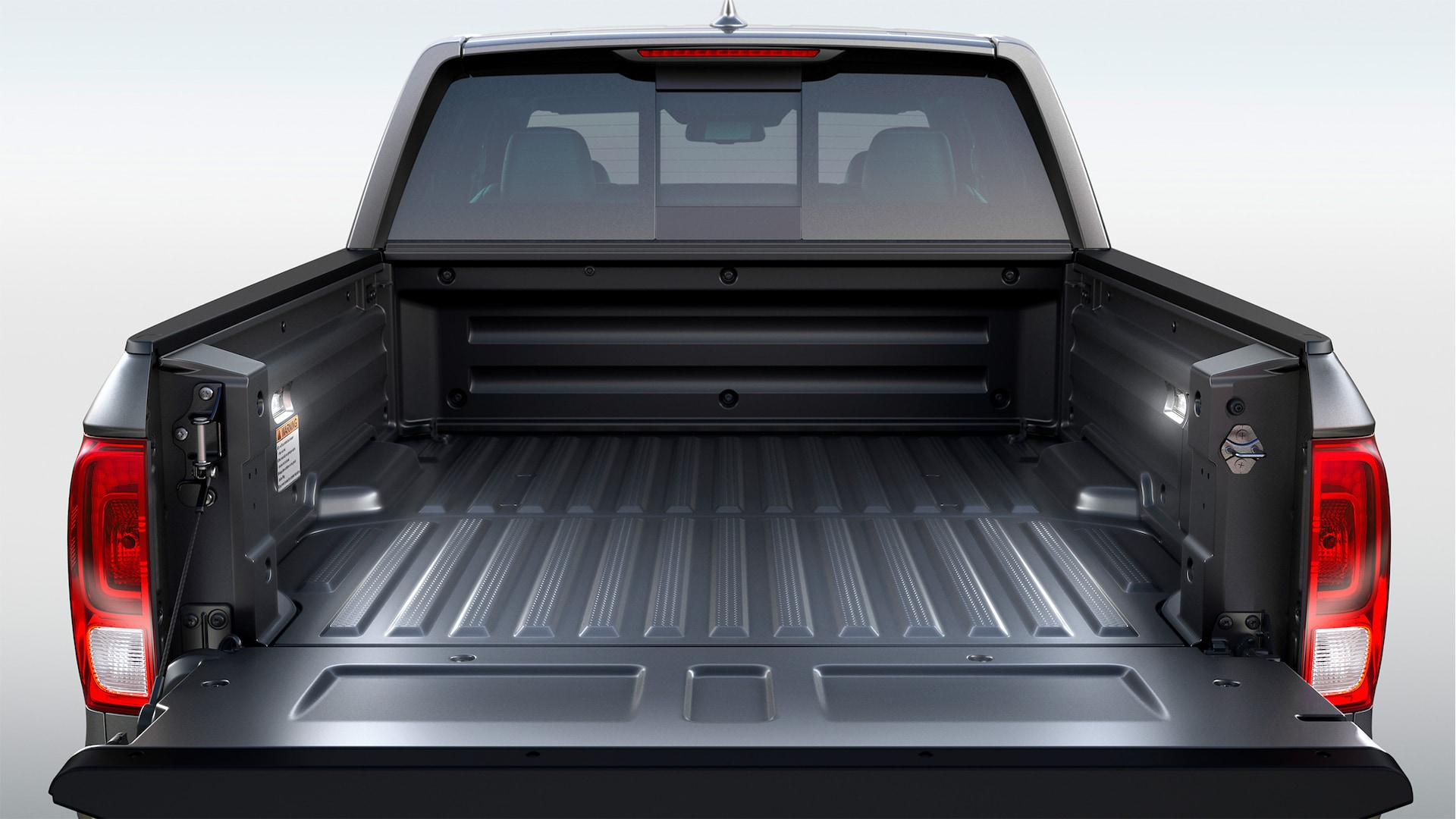 Composite truck-bed detail in the 2020 Honda Ridgeline RTL-E in Modern Steel Metallic.