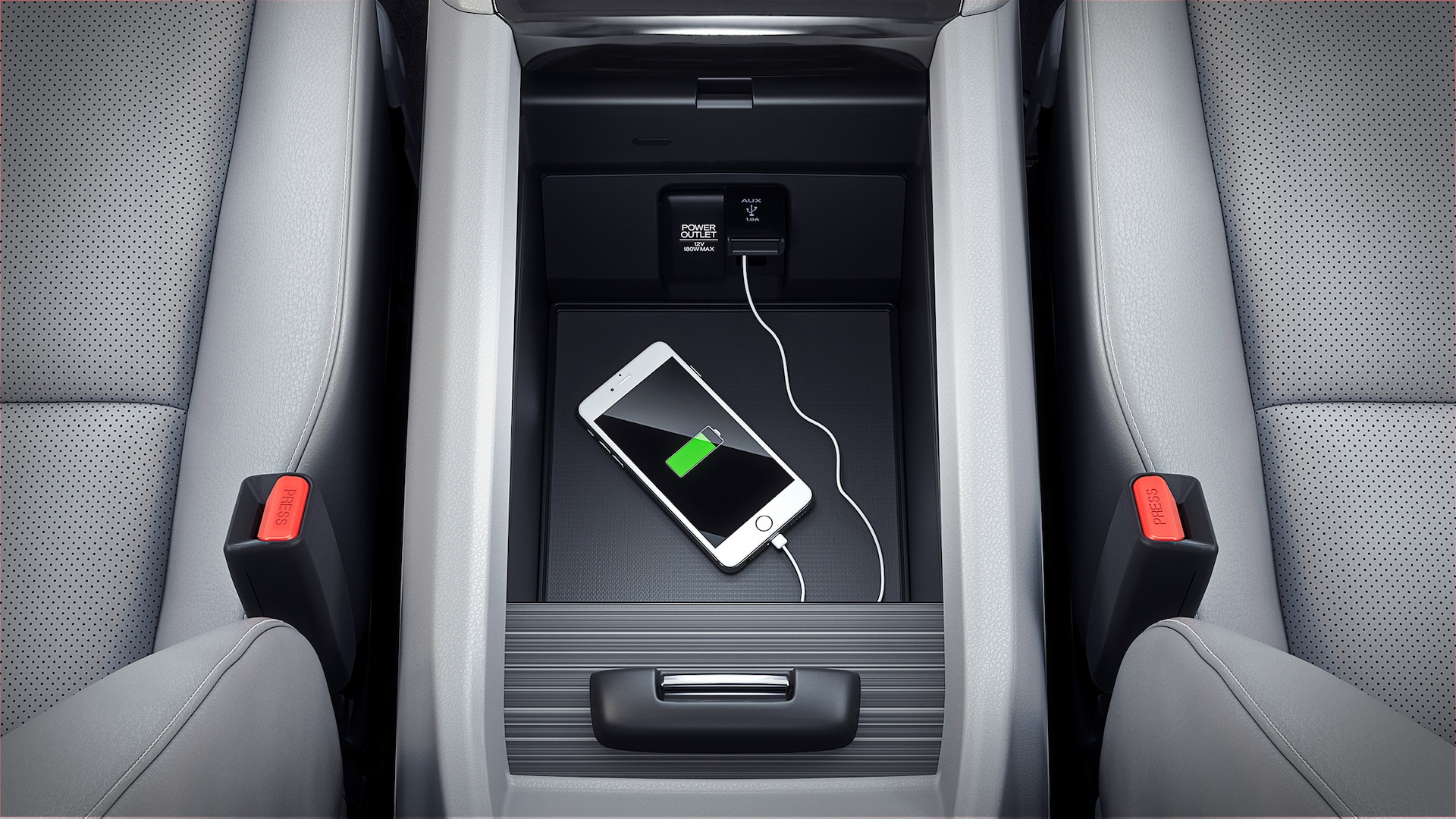USB connectivity in center console in the 2020 Honda Ridgeline RTL-E with Gray Leather.