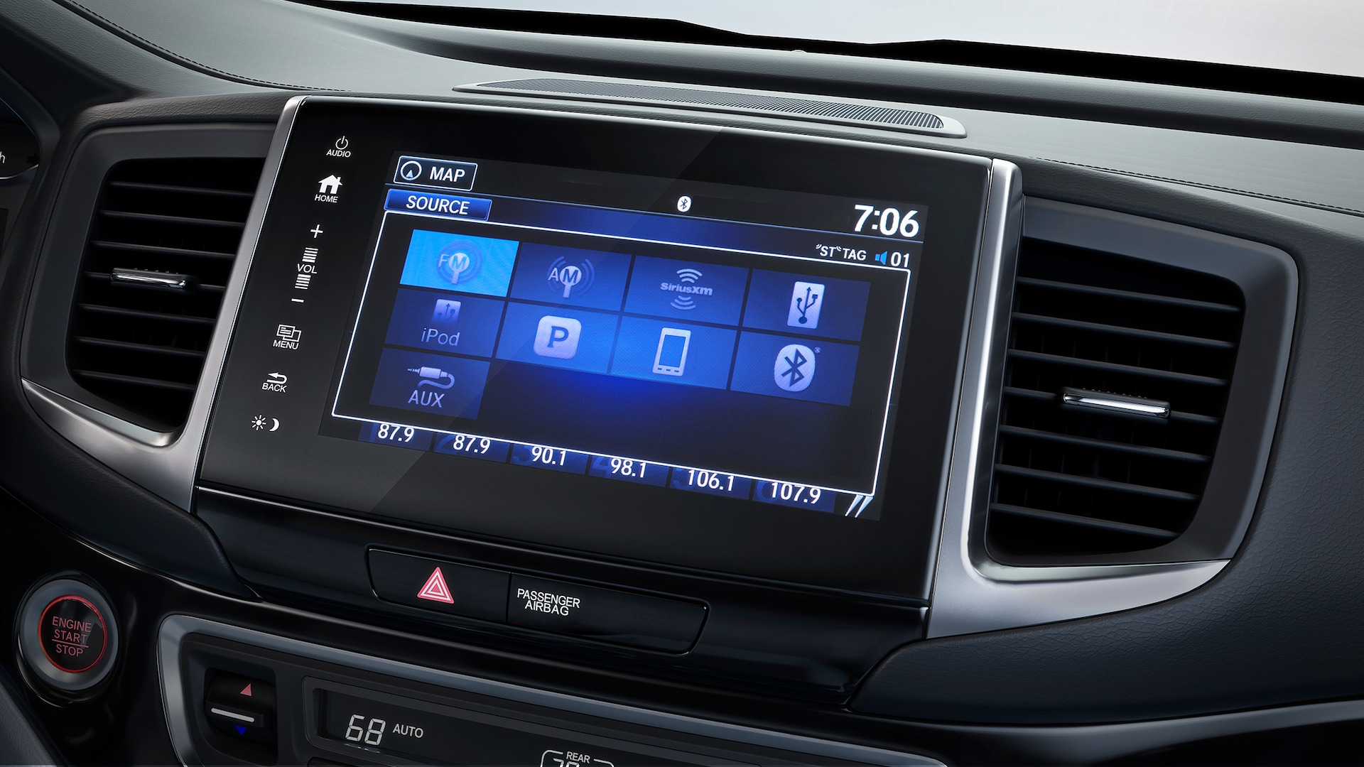 Display Audio touch-screen detail in the 2020 Honda Ridgeline.
