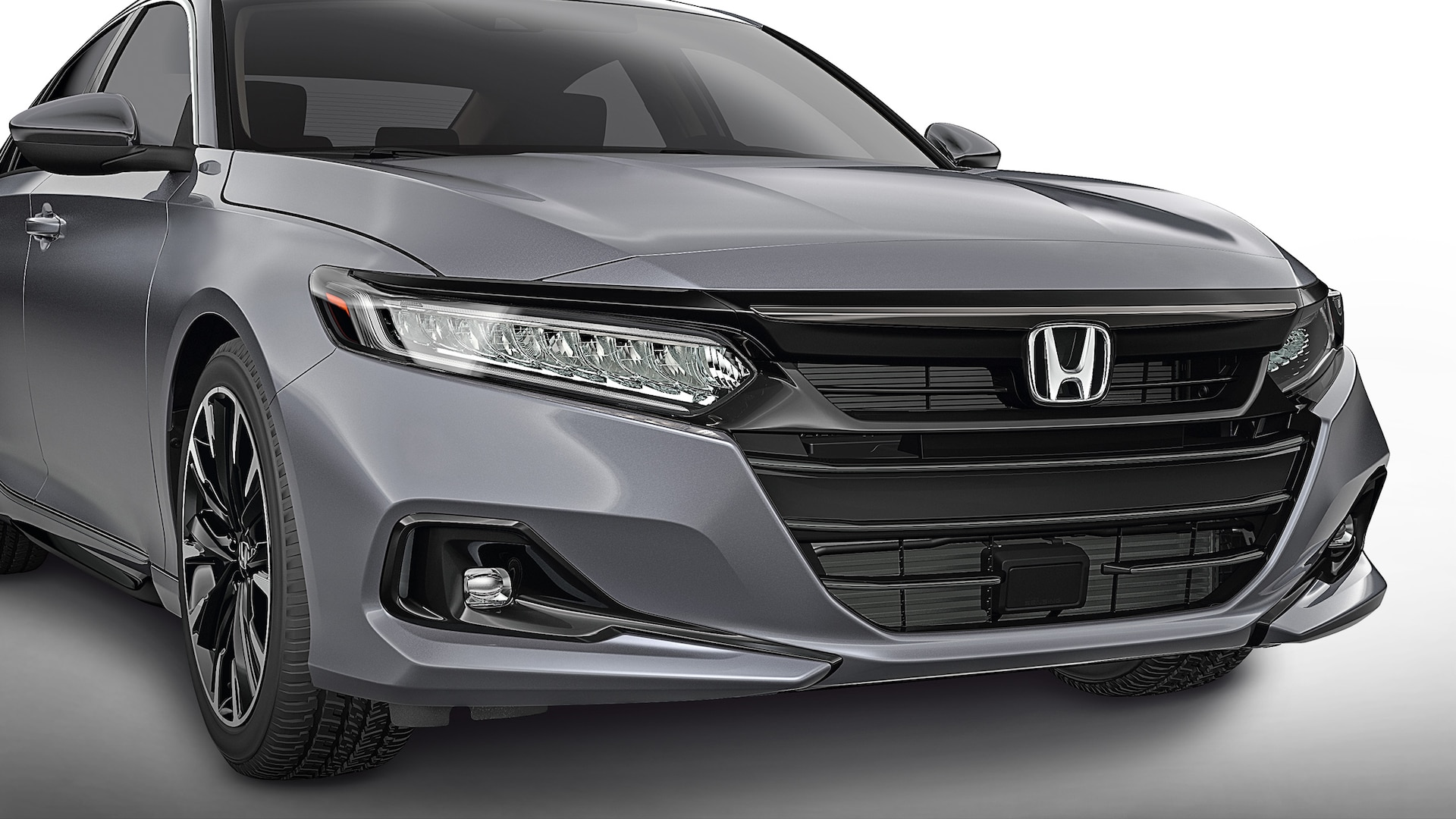 Sport grille accessory detail on the 2021 Honda Accord in Modern Steel Metallic.