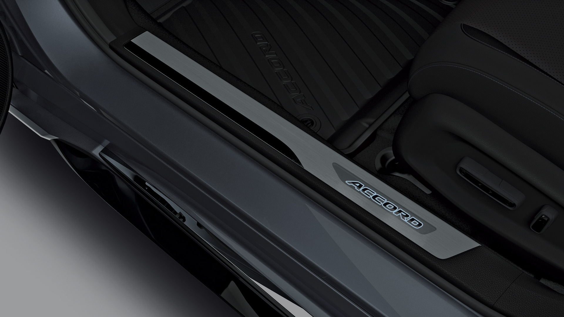 Illuminated door sill trim accessory detail in the 2021 Honda Accord.