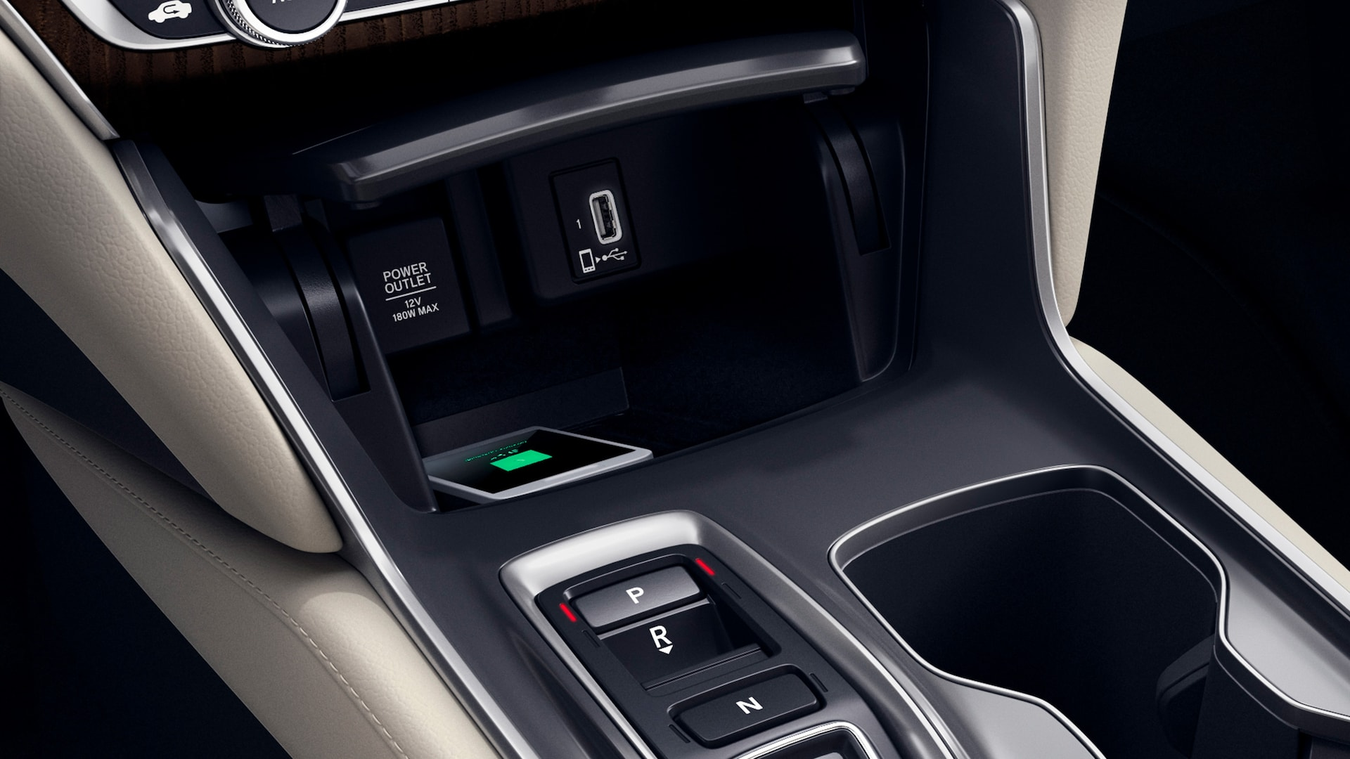 Wireless phone charger detail in the 2021 Honda Accord Touring 2.0T with Ivory Leather.