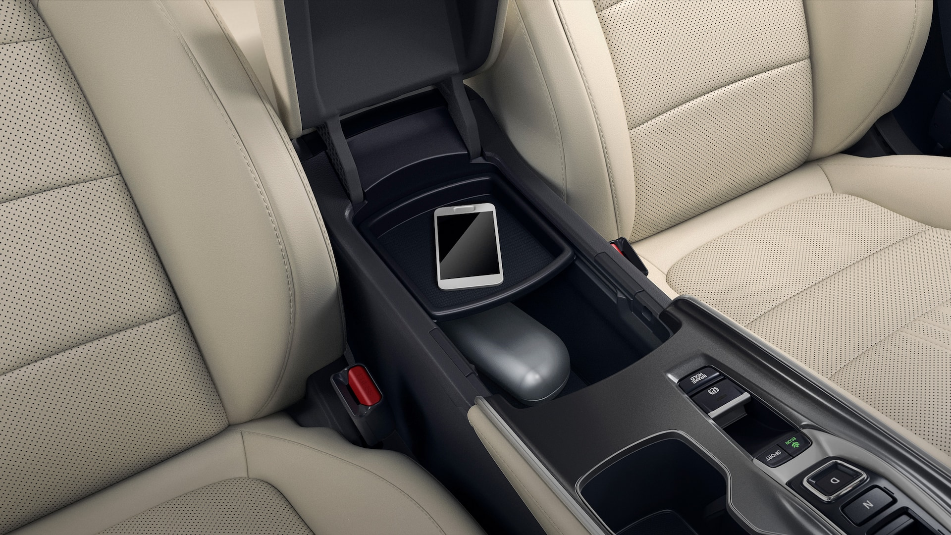 Center console storage compartment detail in the 2021 Honda Accord Touring 2.0T.