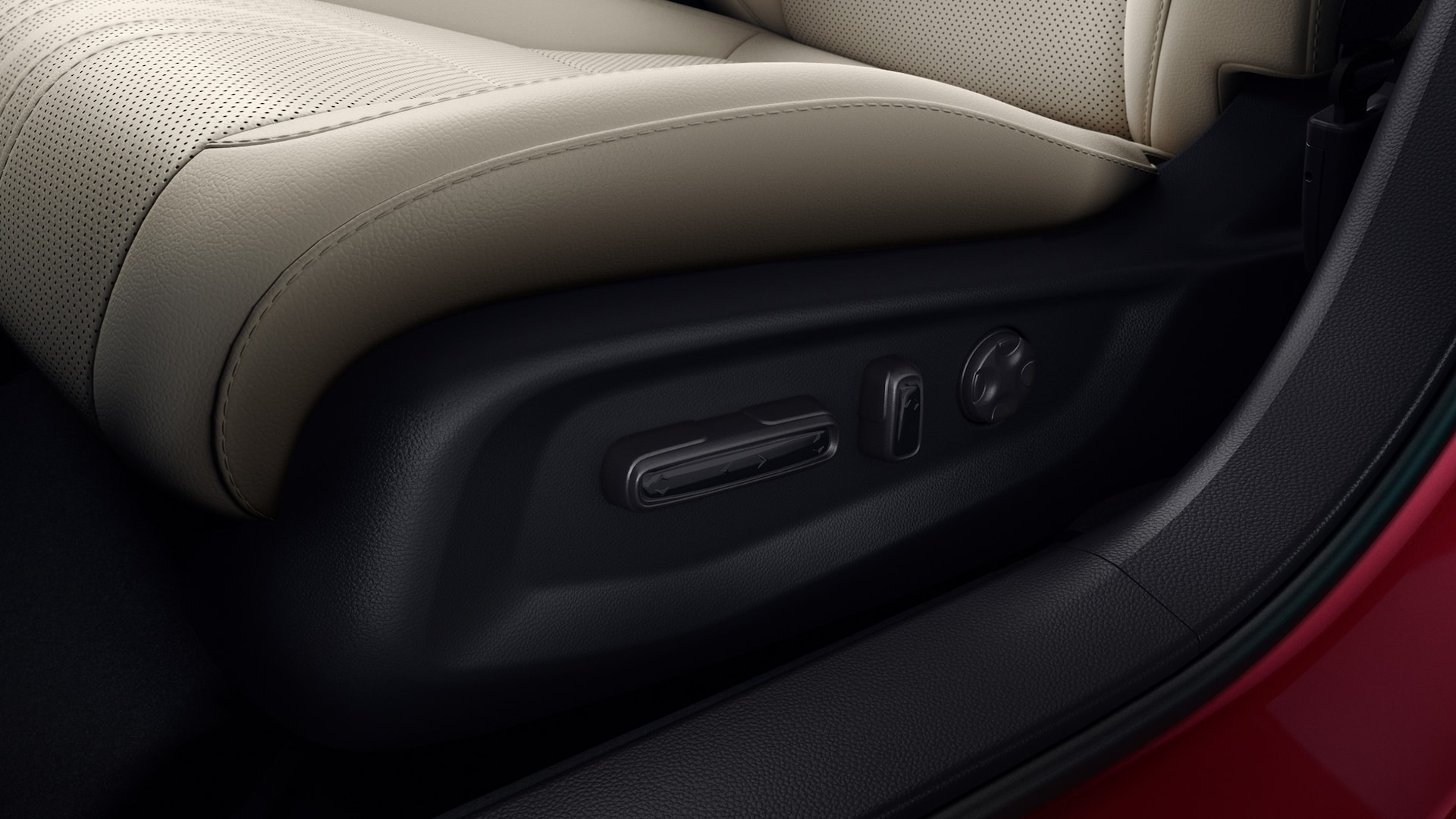 Power-adjustable driver's seat controls detail in the 2021 Honda Accord Touring 2.0T with Ivory Leather.