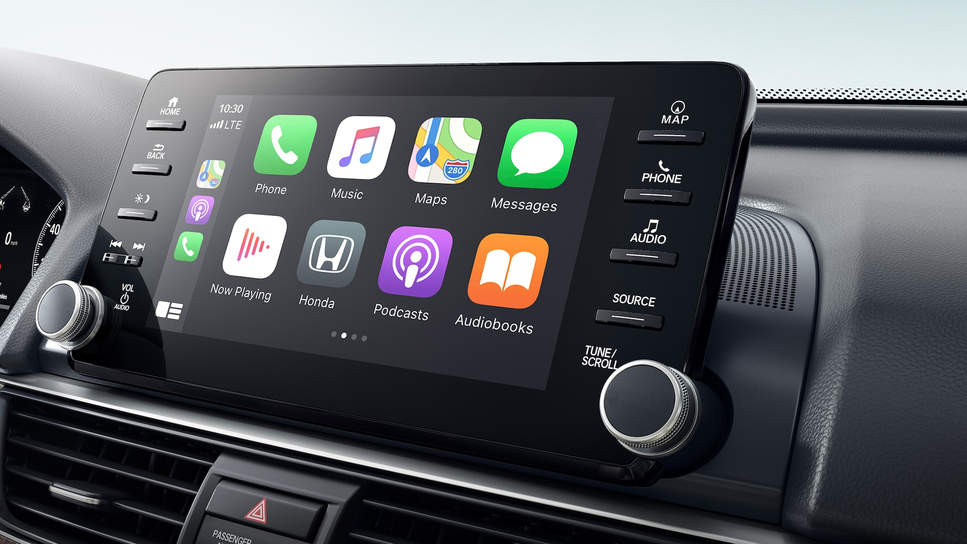 Wireless Apple CarPlay® integration shown on Display Audio touch-screen in the 2021 Honda Accord Touring 2.0T.
