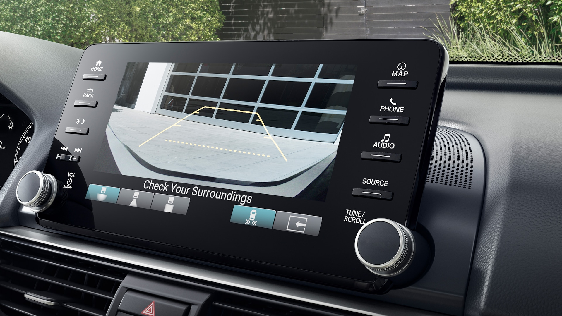 Multi-angle rearview camera detail, shown on Display Audio touch-screen in the 2021 Honda Accord Touring 2.0T.