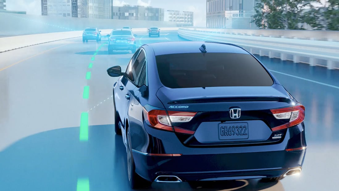 Demonstration of Honda Sensing Lane Keeping Assist System feature. Plays video. Opens a dialog.