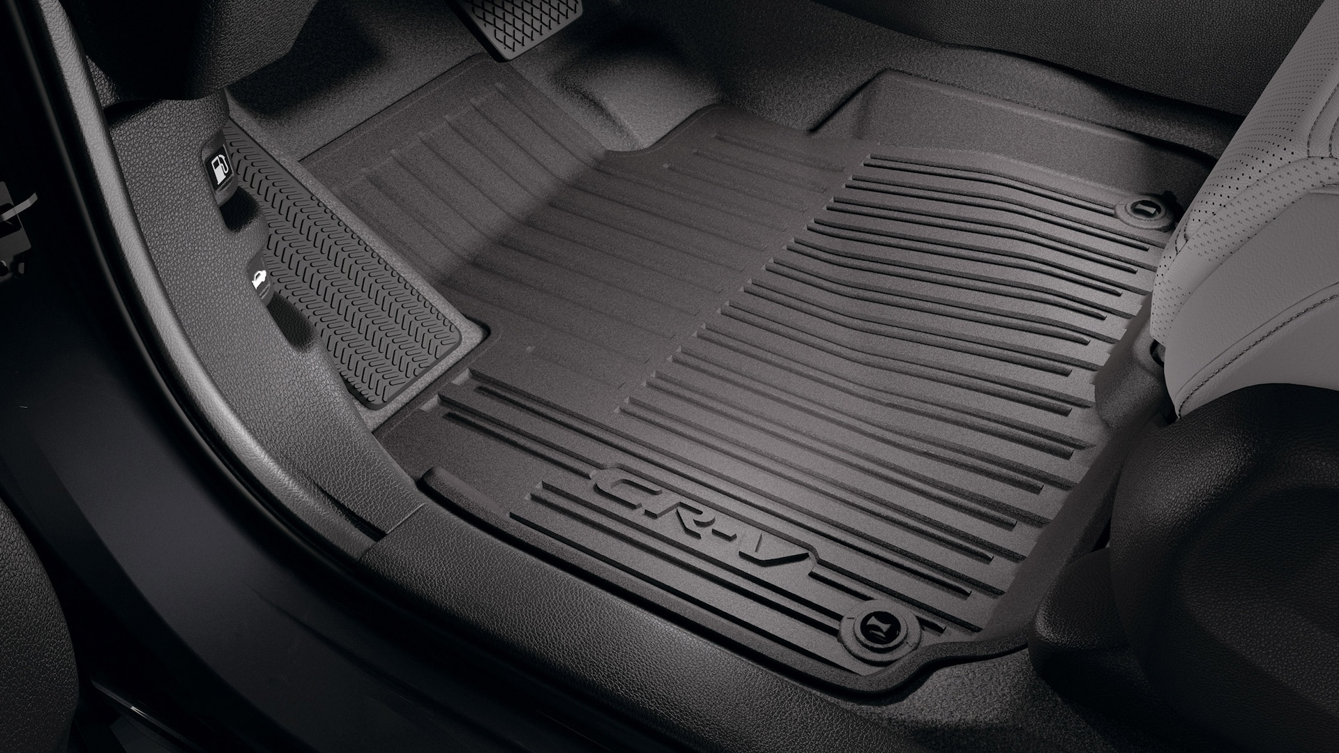 Interior view of accessory floor mats in the 2021 Honda CR-V Touring with Gray Leather.