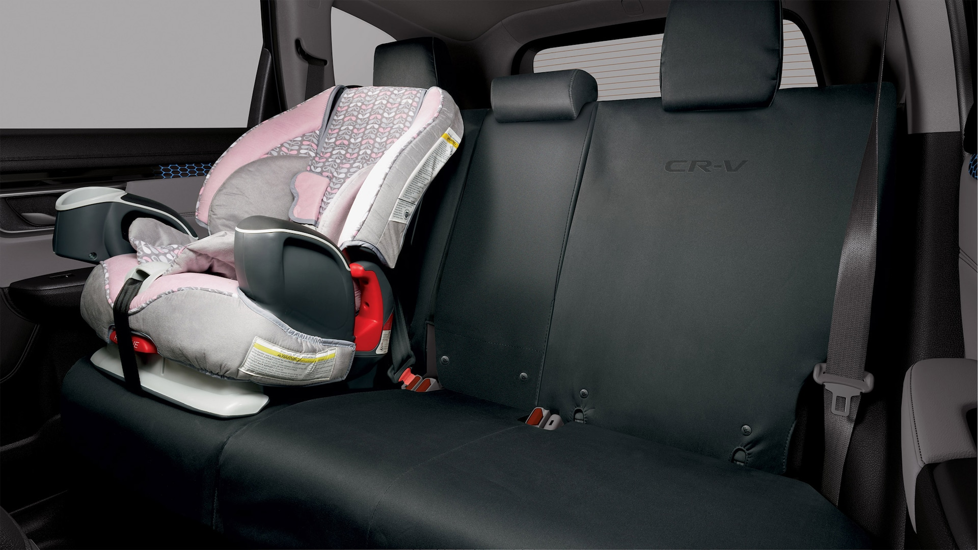 Interior view of 2021 Honda CR-V with Honda Genuine Accessory rear seat covers.
