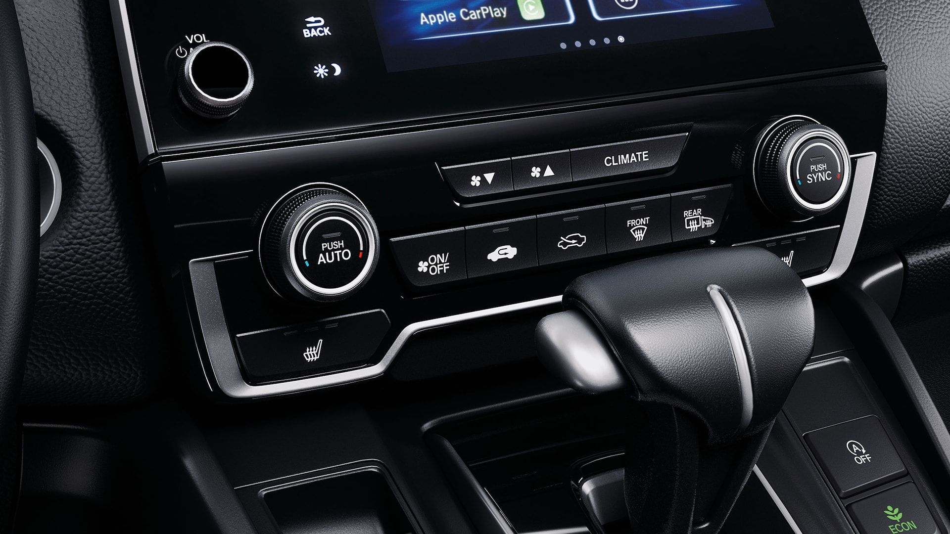 Dual-zone automatic climate control detail in the 2021 Honda CR-V with Black Leather.