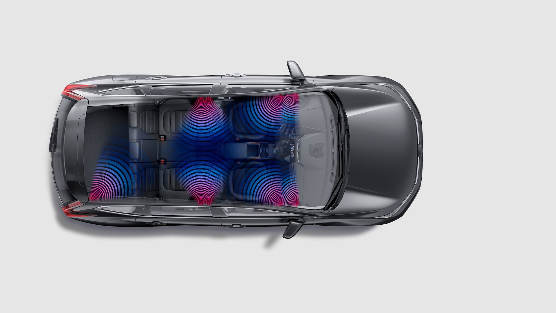 Overhead cutaway view of the 2021 Honda CR-V with illustration showing speaker locations.