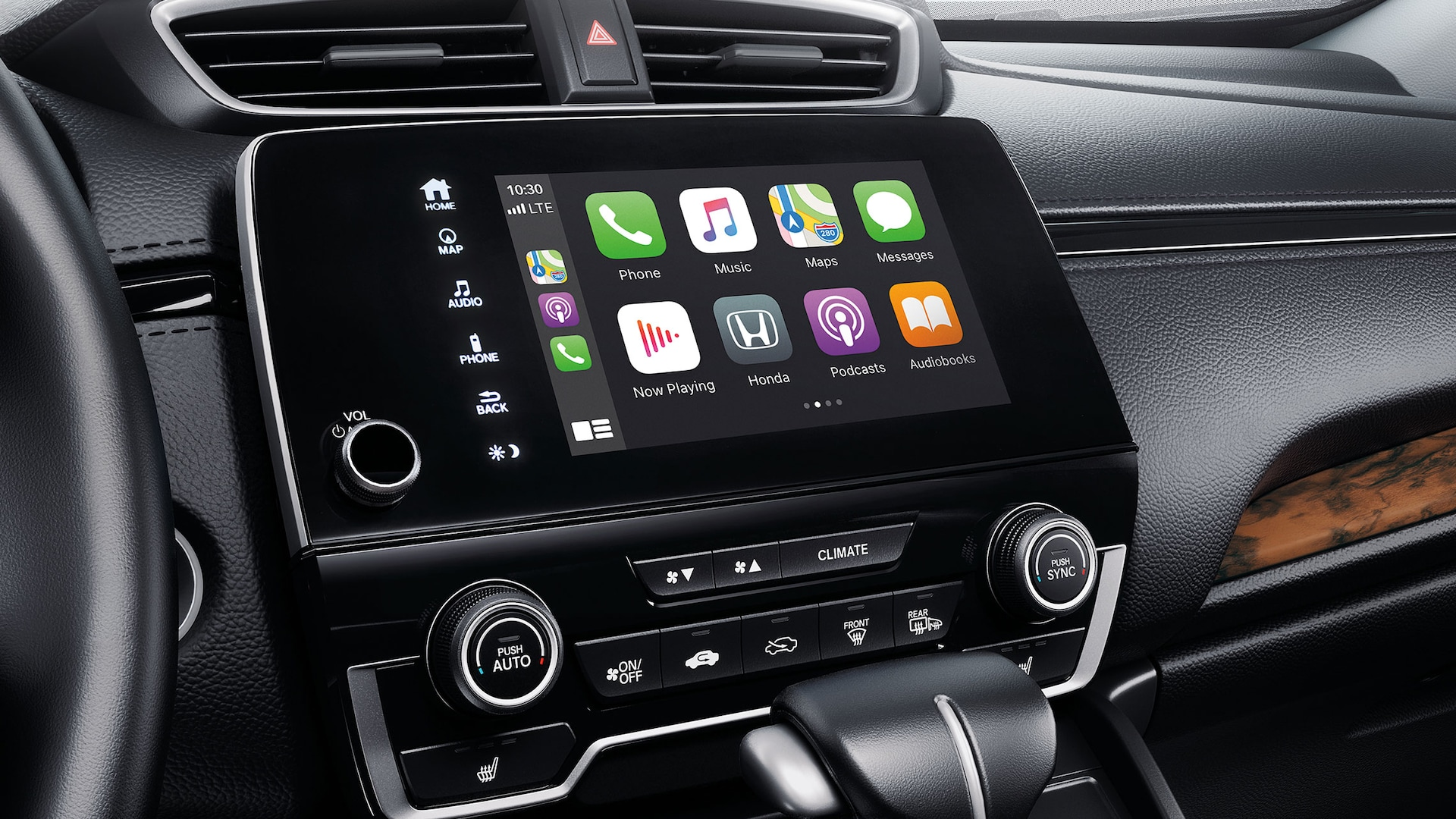 Apple CarPlay® integration menu detail on Display Audio touch-screen in the 2021 Honda CR-V.