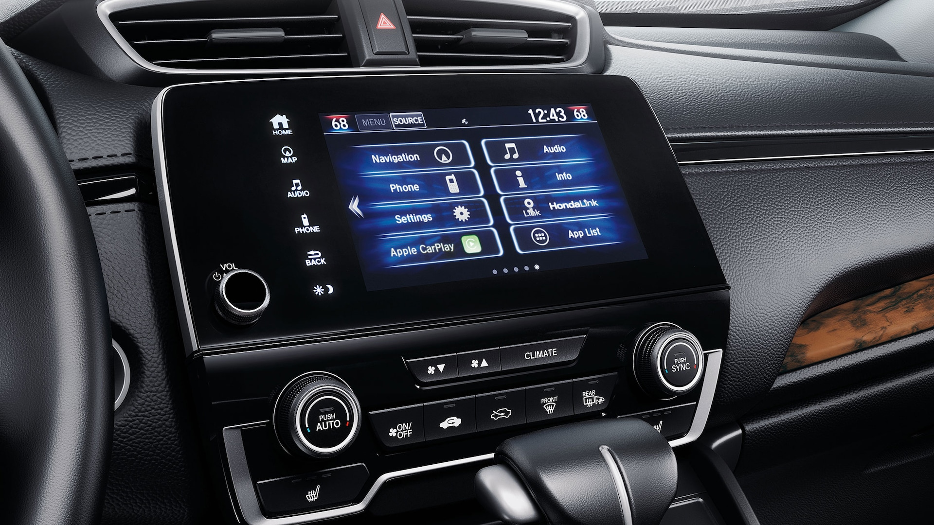7-inch Display Audio touch-screen detail in the 2021 Honda CR-V Touring with Black Leather.