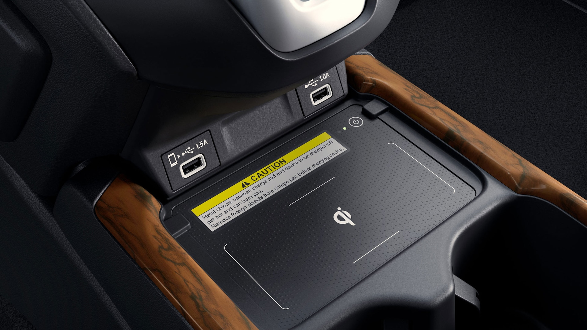 Detail view of USB ports in the 2021 Honda CR-V Touring with Black Leather.