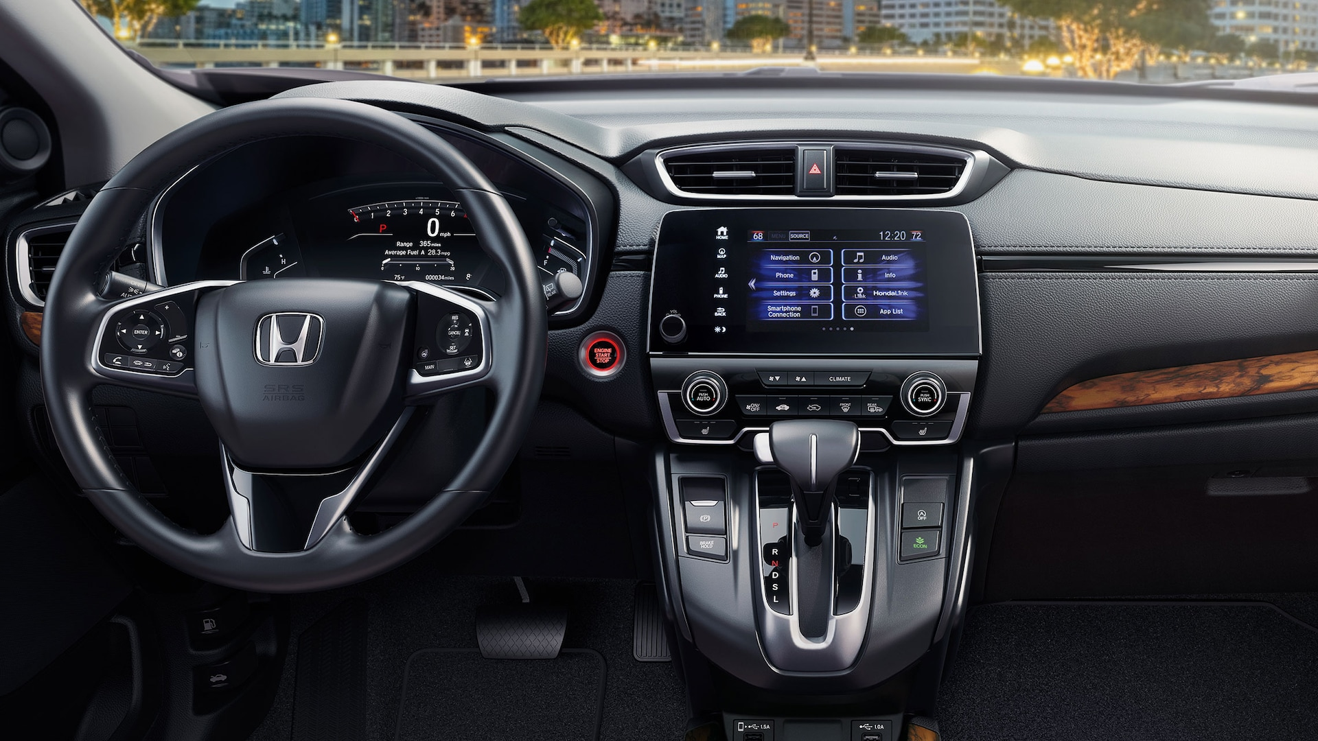 Interior view of instrument panel in the 2021 Honda CR-V with Black Leather.