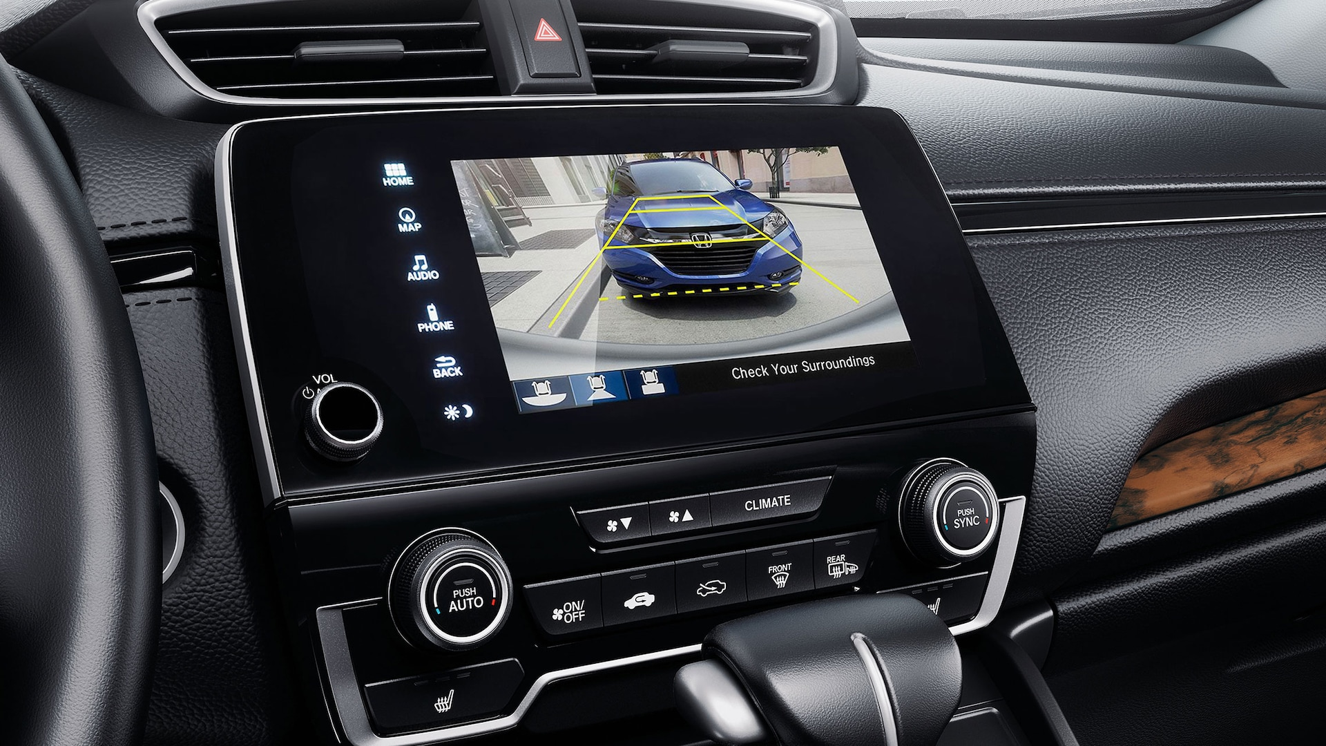 Display Audio touch-screen detail in the 2021 Honda CR-V Touring shown with Black Leather.