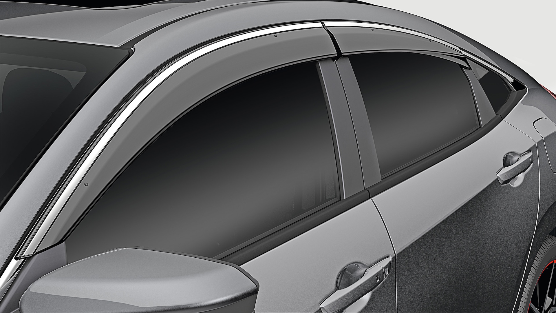 Door-visor detail on the 2021 Honda Civic Sedan in Modern Steel Metallic.