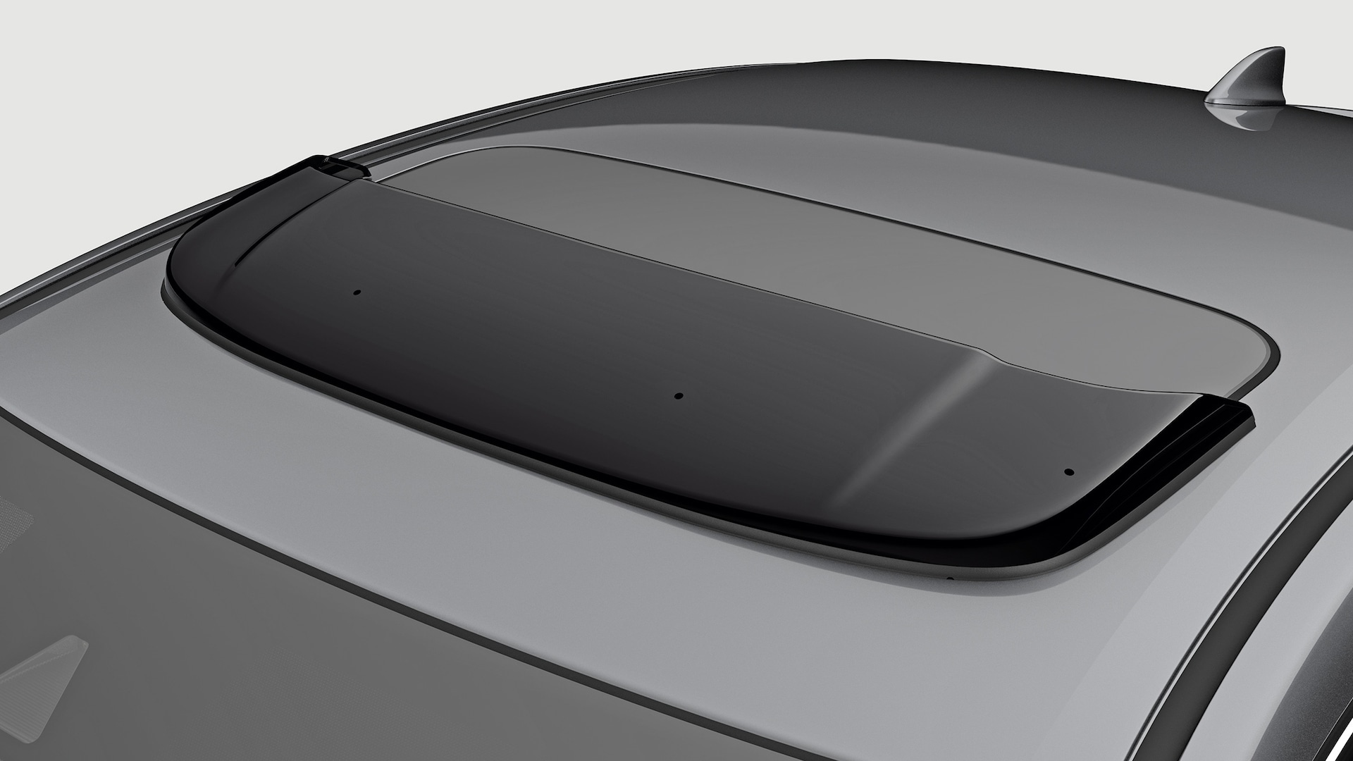 Moonroof visor detail on the 2021 Honda Civic Sedan in Modern Steel Metallic.