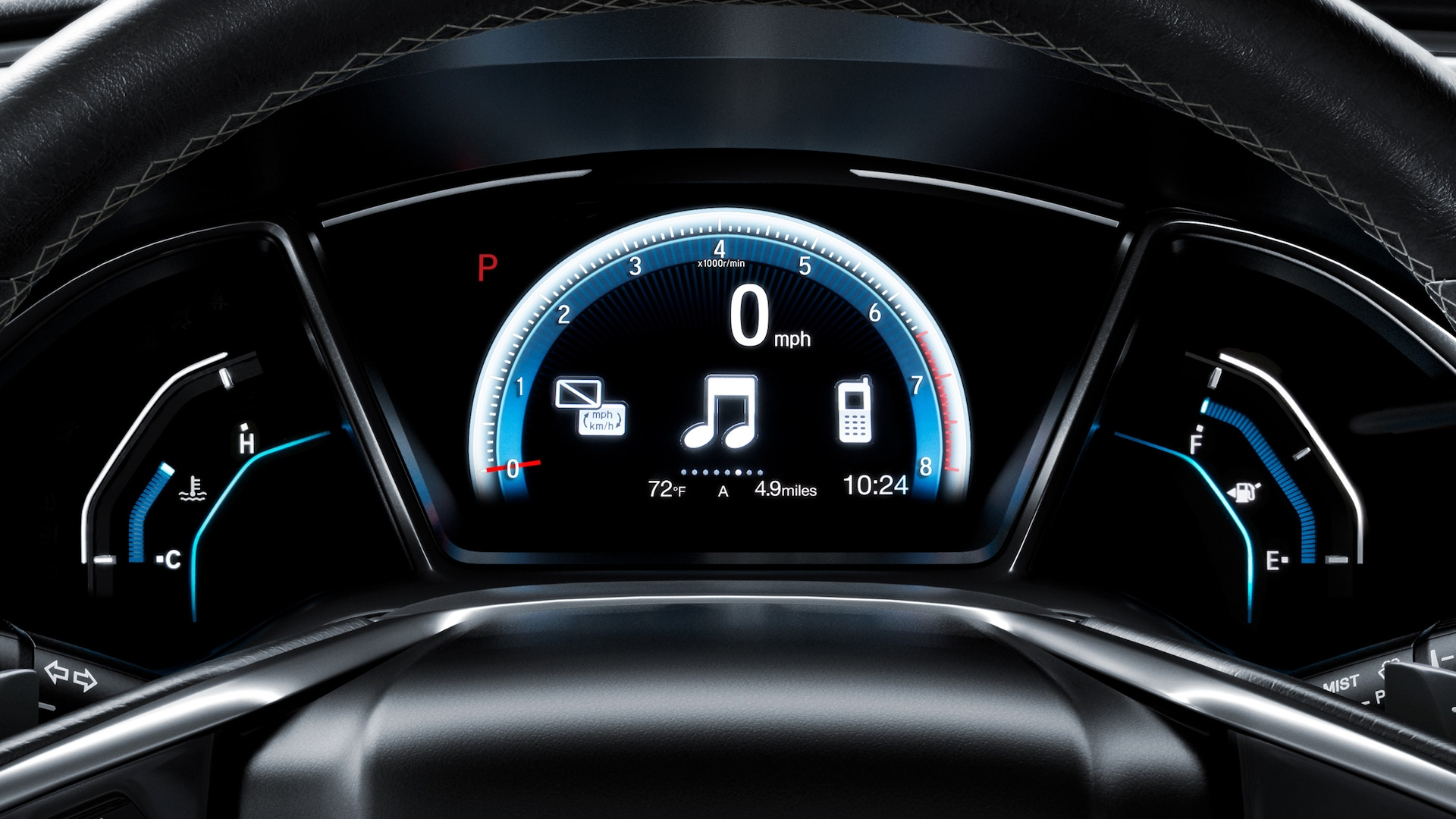 Driver Information Interface detail in the 2021 Honda Civic Touring Sedan.