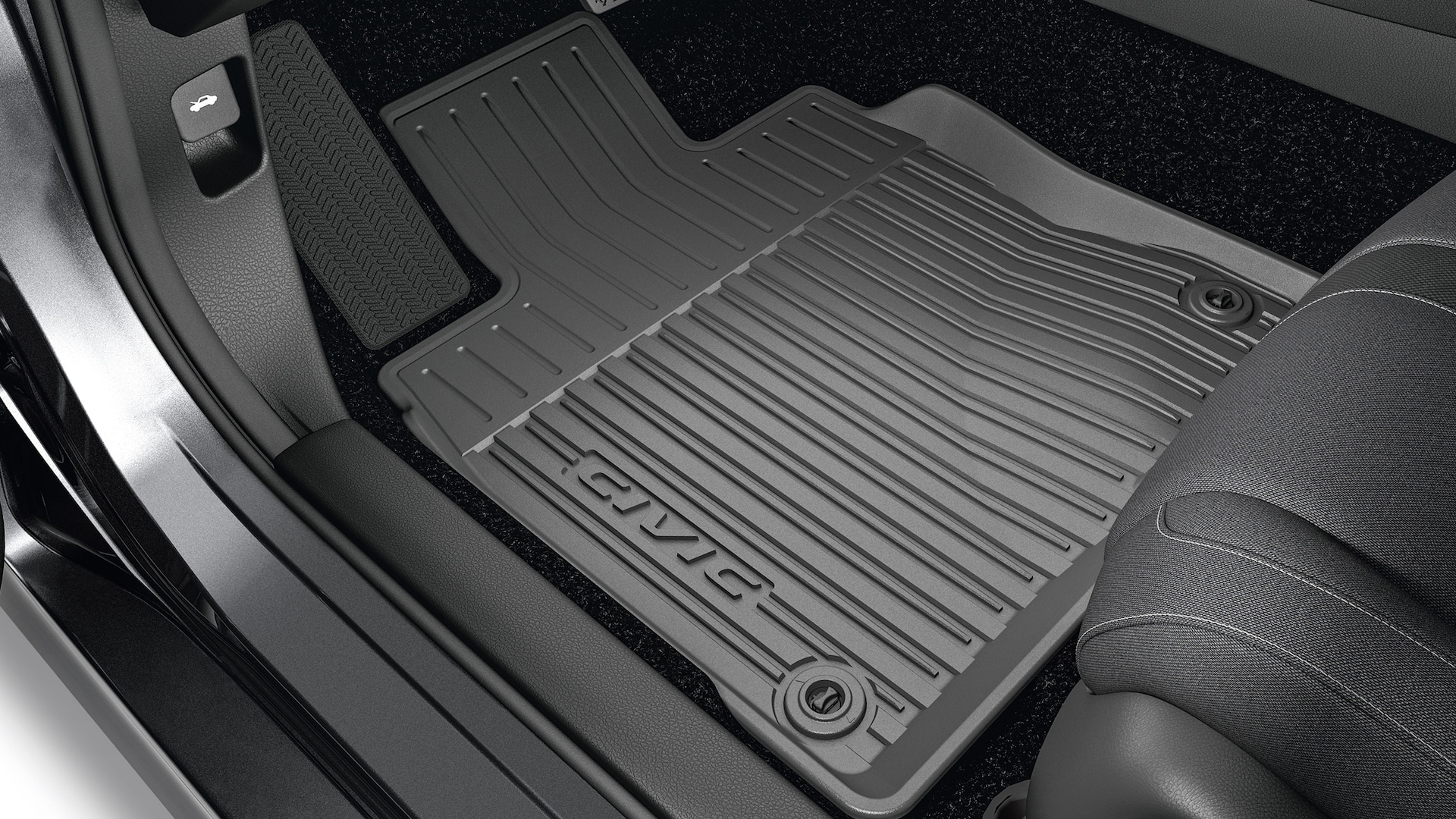 All-season floor mats detail in the 2021 Honda Civic Sedan.