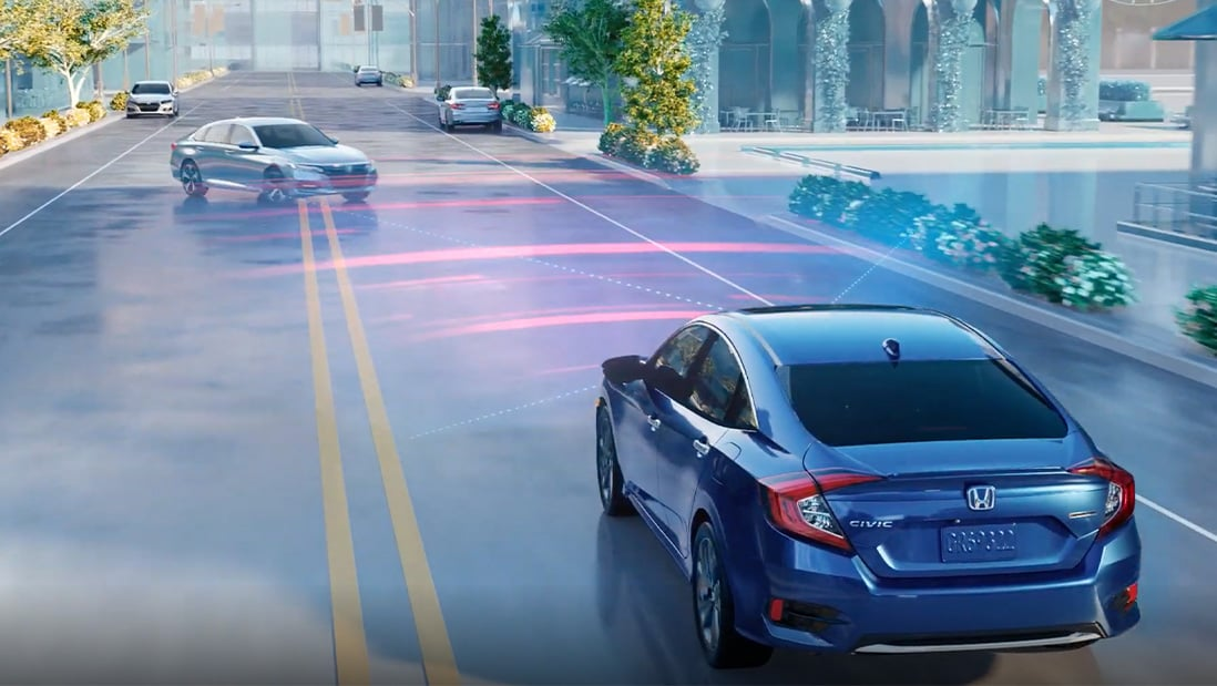 Demonstration of the Honda Sensing® Collision Mitigation Braking System™ feature. Plays video. Opens a dialog.