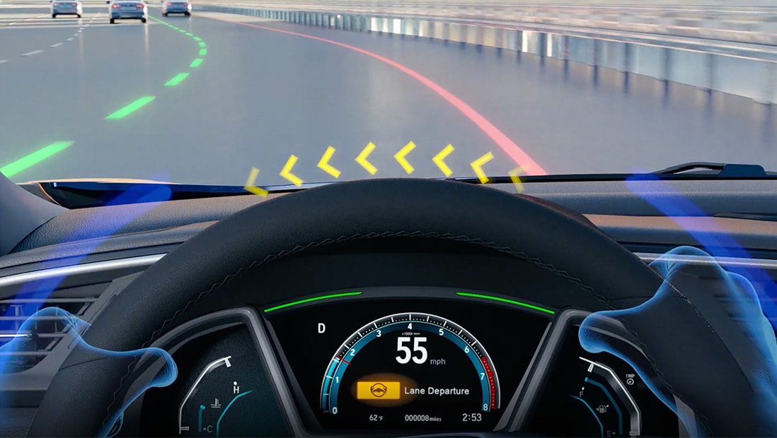 Demonstration of the Honda Sensing® Road Departure Mitigation System feature. Plays video. Opens a dialog.