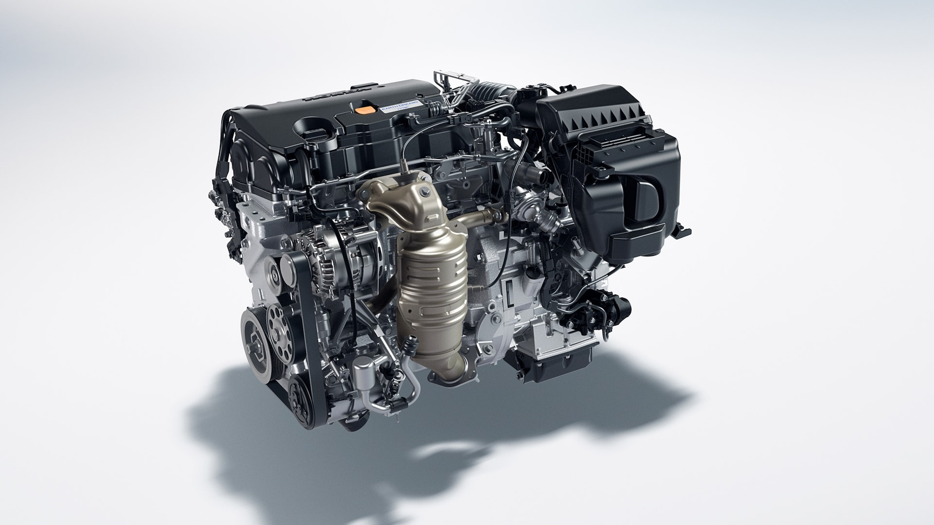 2.0-liter, 4-cylinder engine detail in the 2021 Honda Civic LX Sedan.