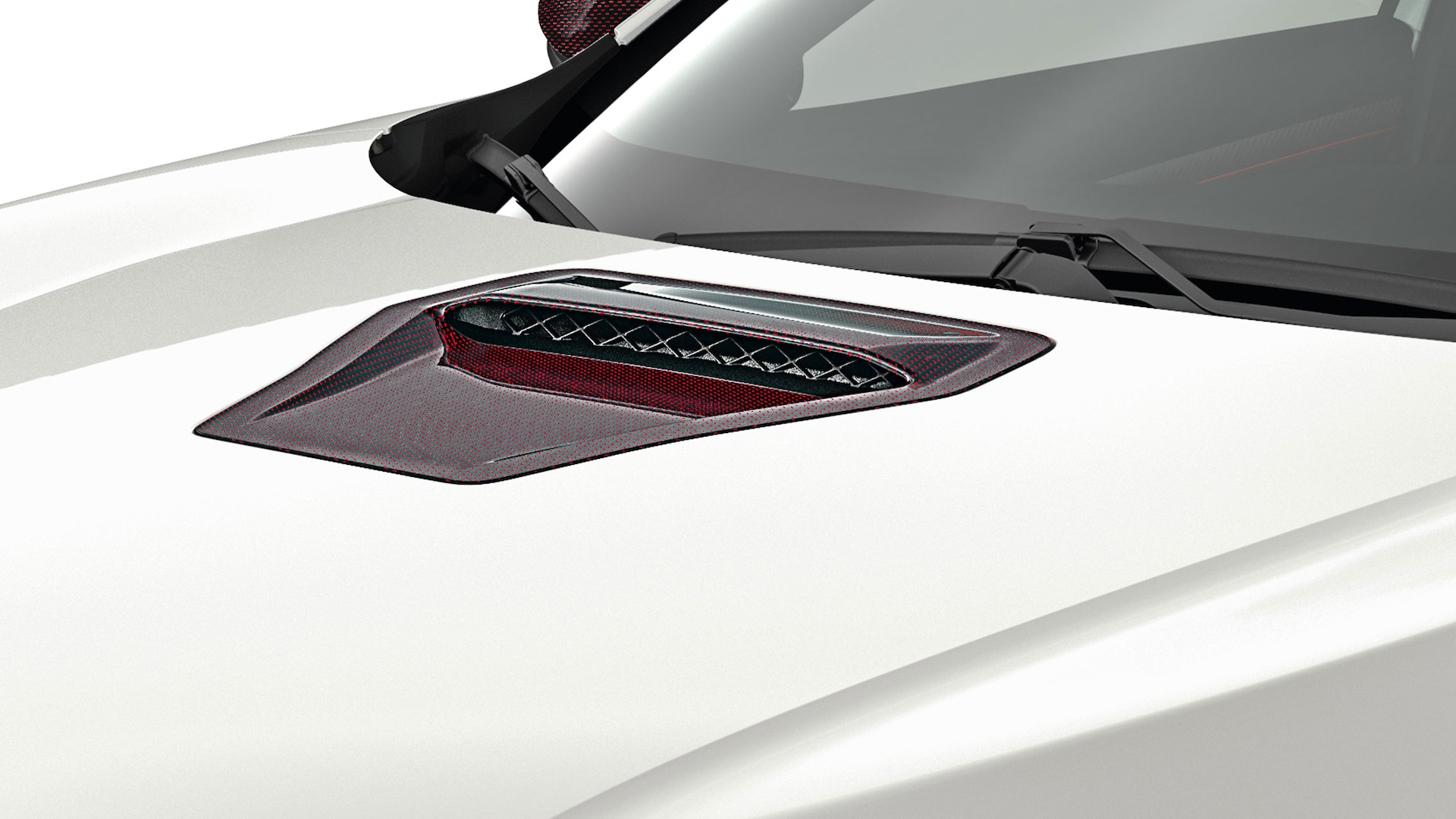 Detail view of Honda Genuine Accessory carbon fiber hood scoop on the 2021 Honda Civic Type R in Championship White.