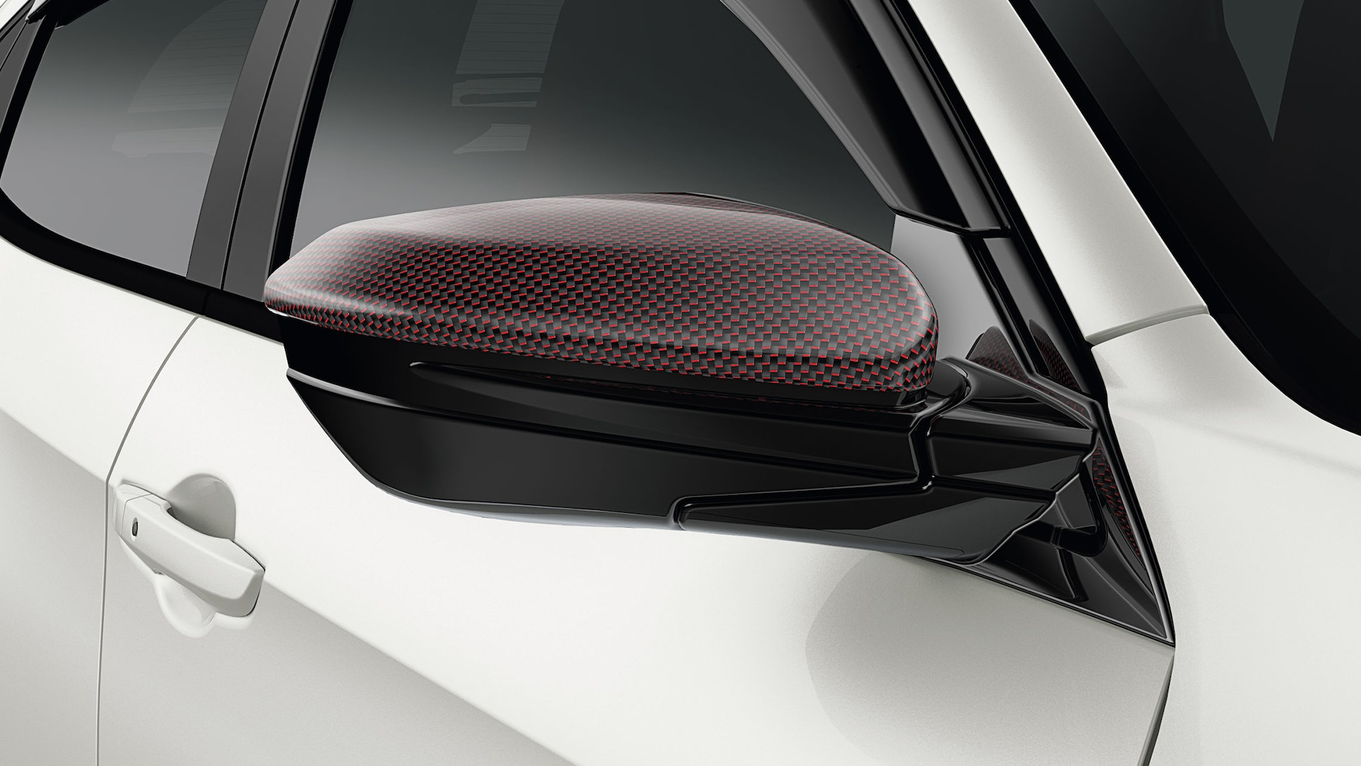 Detail view of Honda Genuine Accessory carbon fiber door mirror cover on the 2021 Honda Civic Type R.