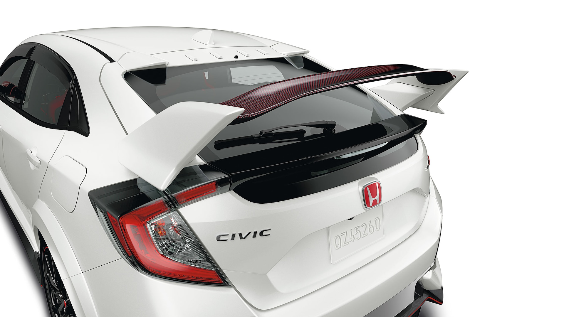 Detail view of Honda Genuine Accessory carbon fiber wing spoiler on the 2021 Honda Civic Type R.