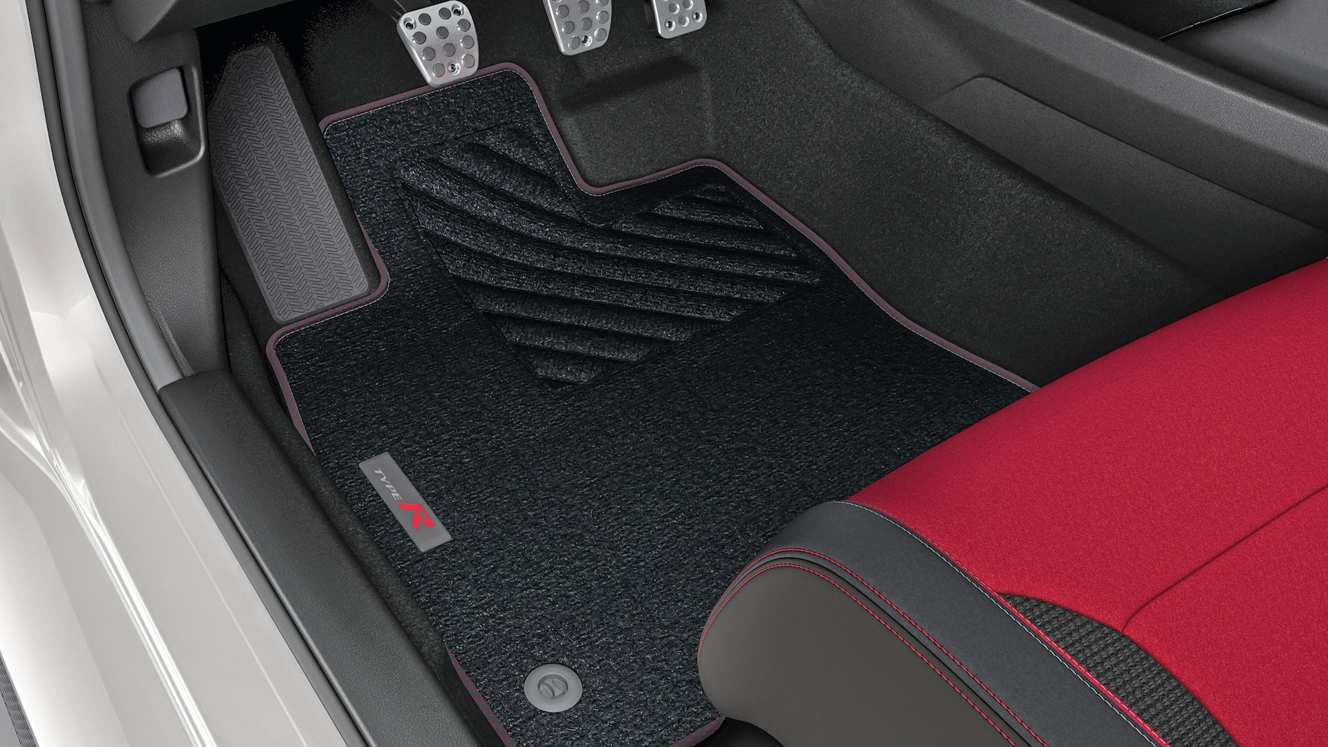Detail view of Honda Genuine Accessory carpet floor mat in the 2021 Honda Civic Type R.