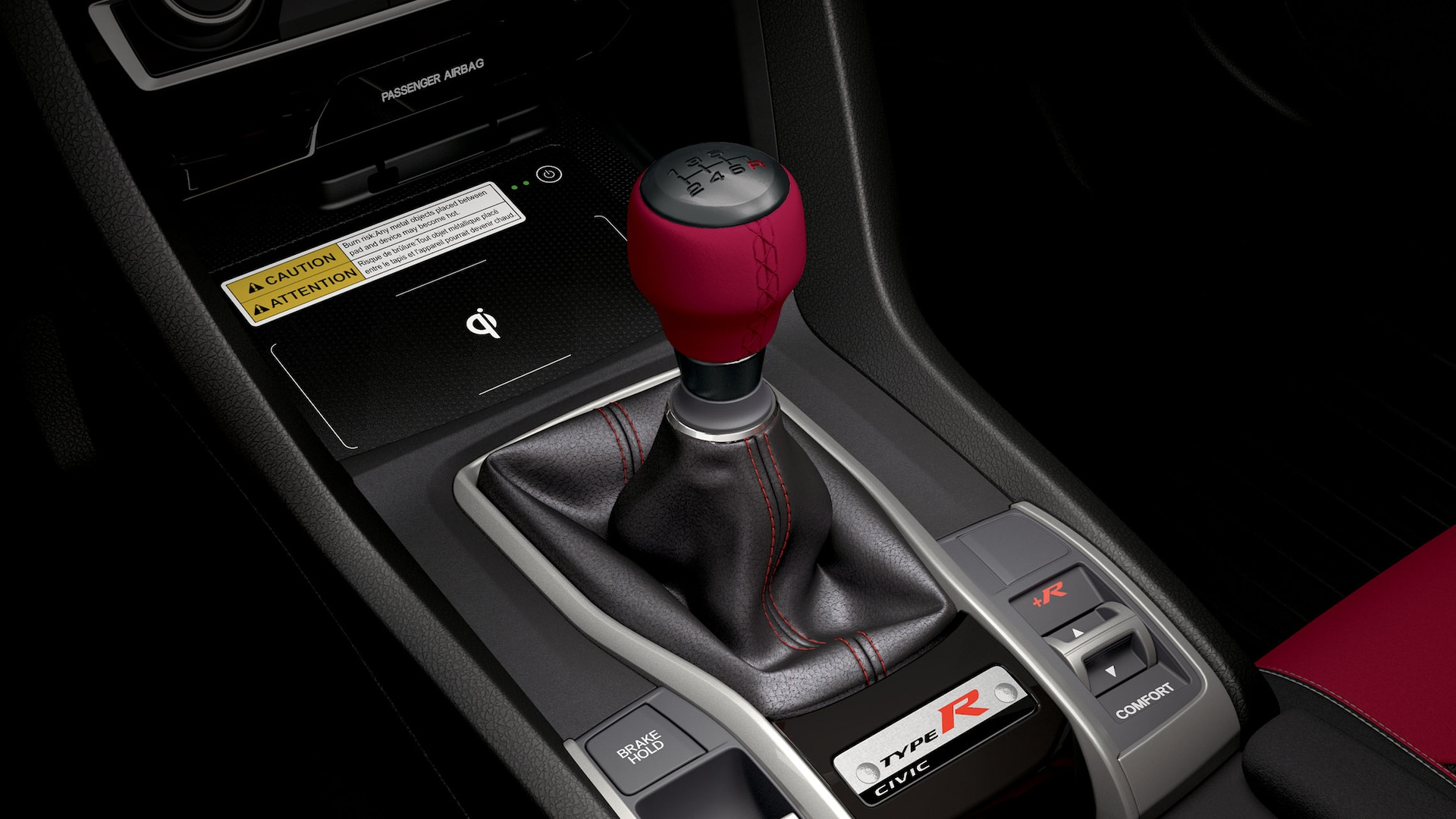 Detail view of Honda Genuine Accessory shift knob in the 2021 Honda Civic Type R.