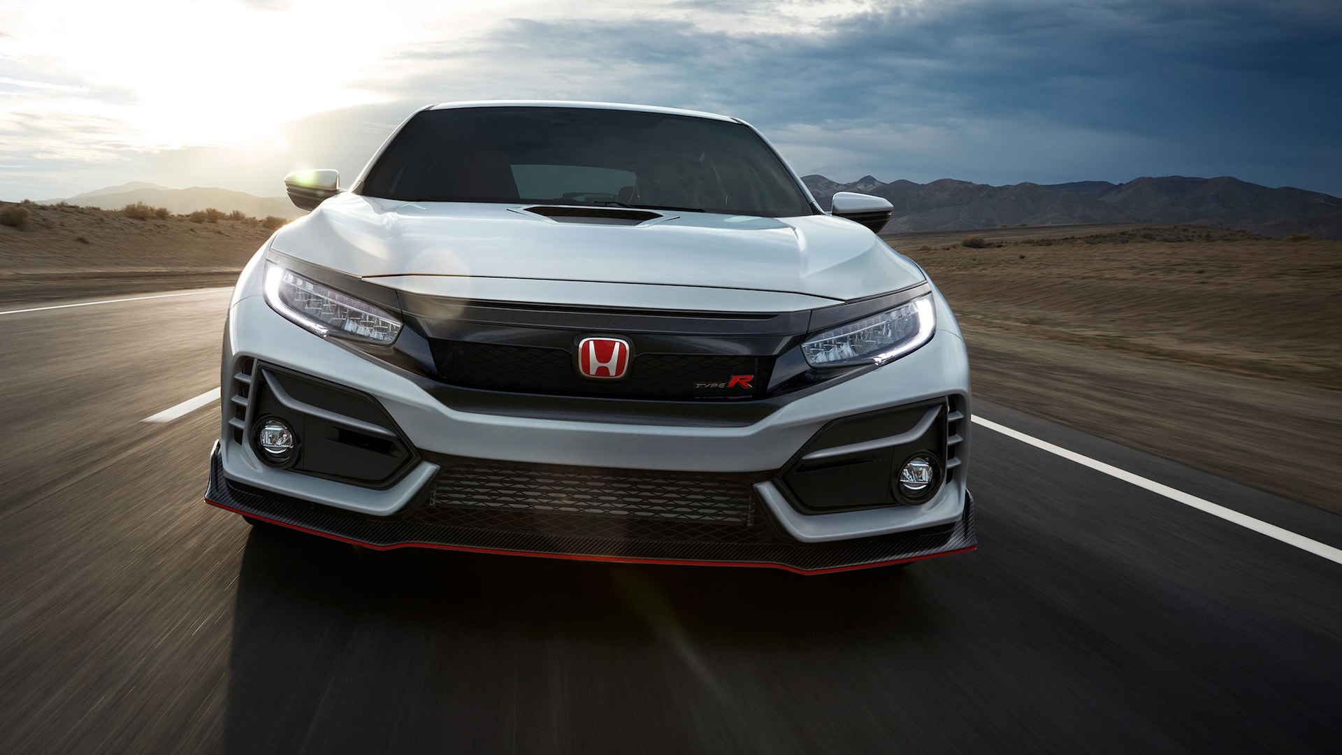 Front view of the 2021 Honda Civic Type R in Championship White.