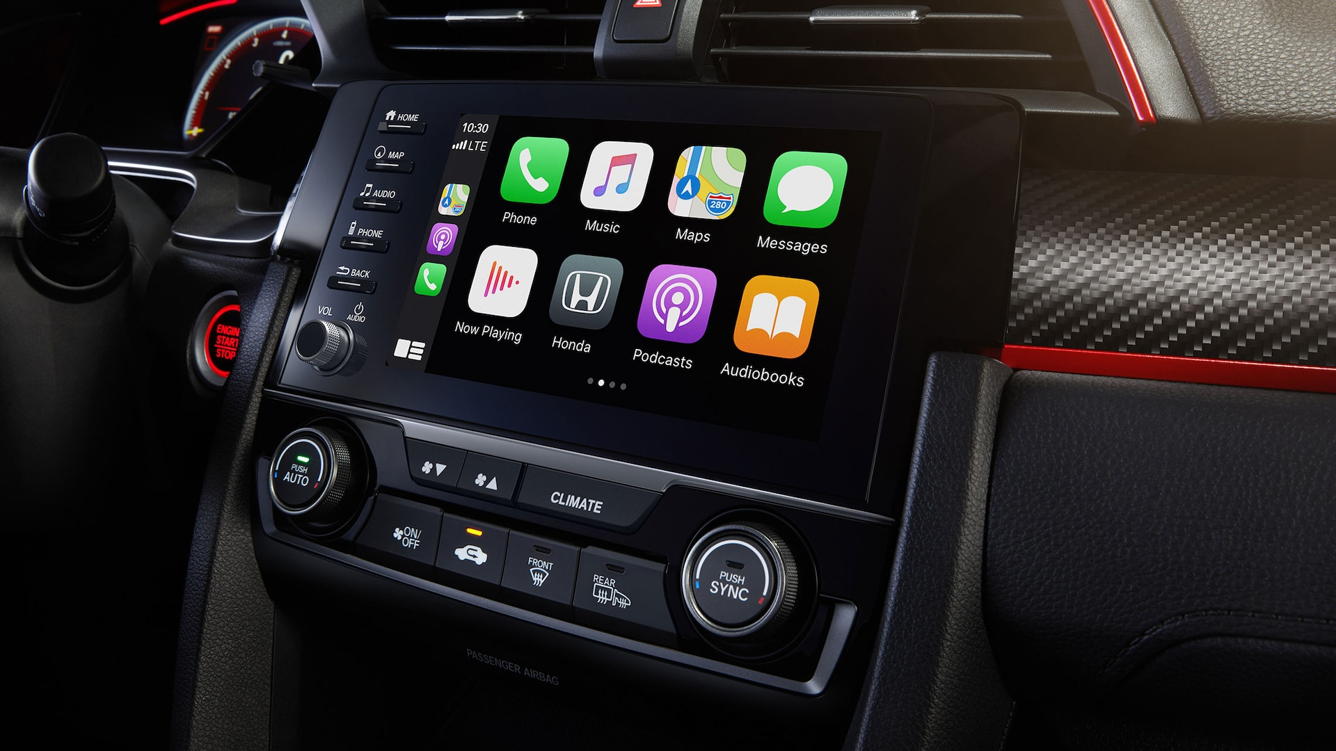 Detail of Display Audio touch-screen with Apple CarPlay® integration in the 2021 Honda Civic Type R.