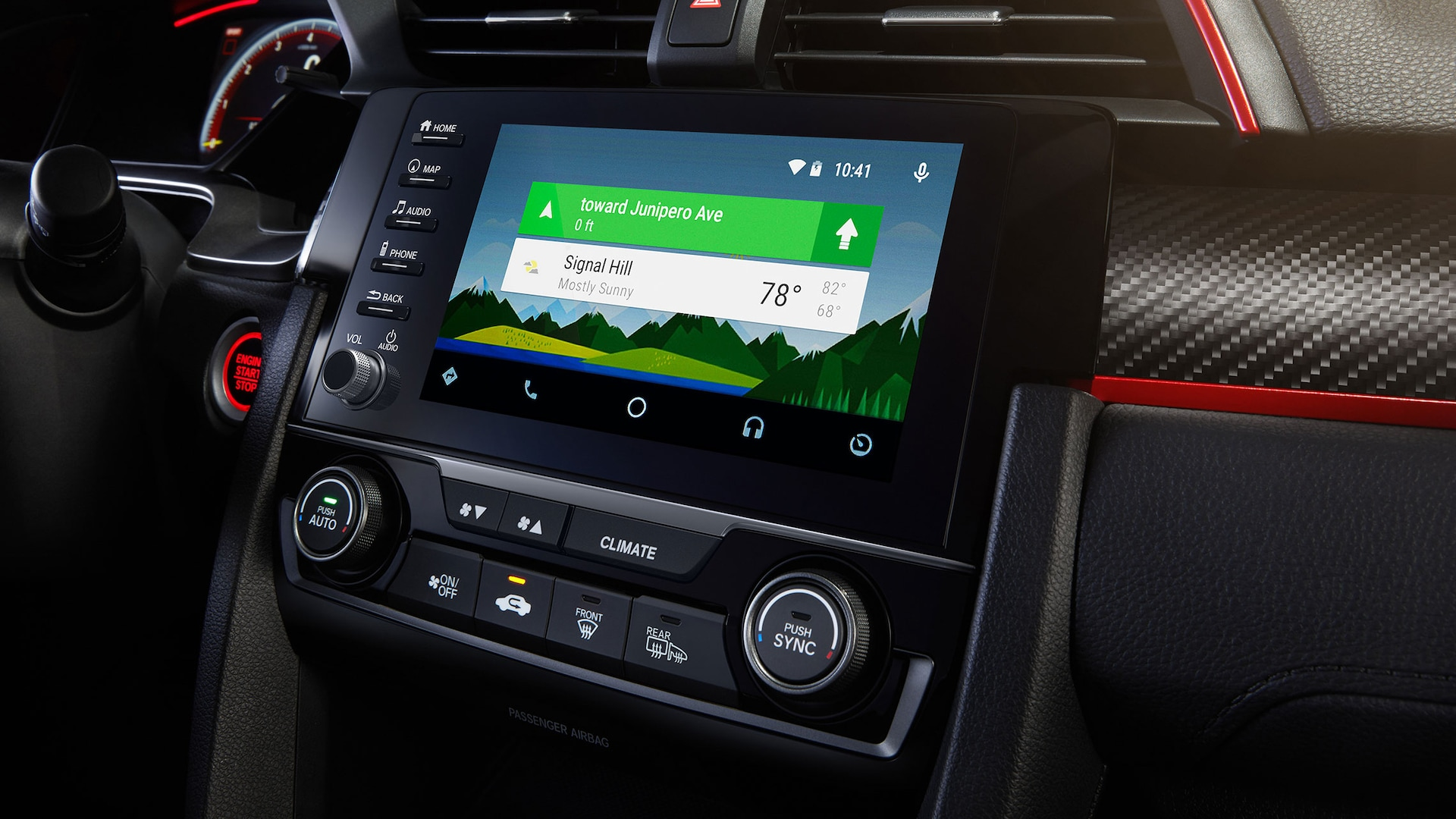 Detail of Display Audio touch-screen with Android Auto™ integration in the 2021 Honda Civic Type R.