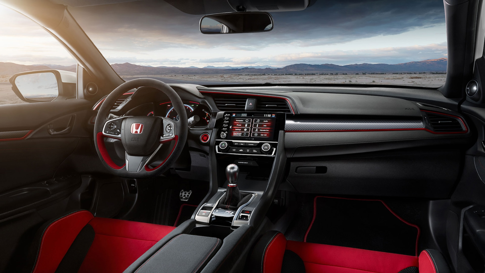 Interior dash view of the 2021 Honda Civic Type R.